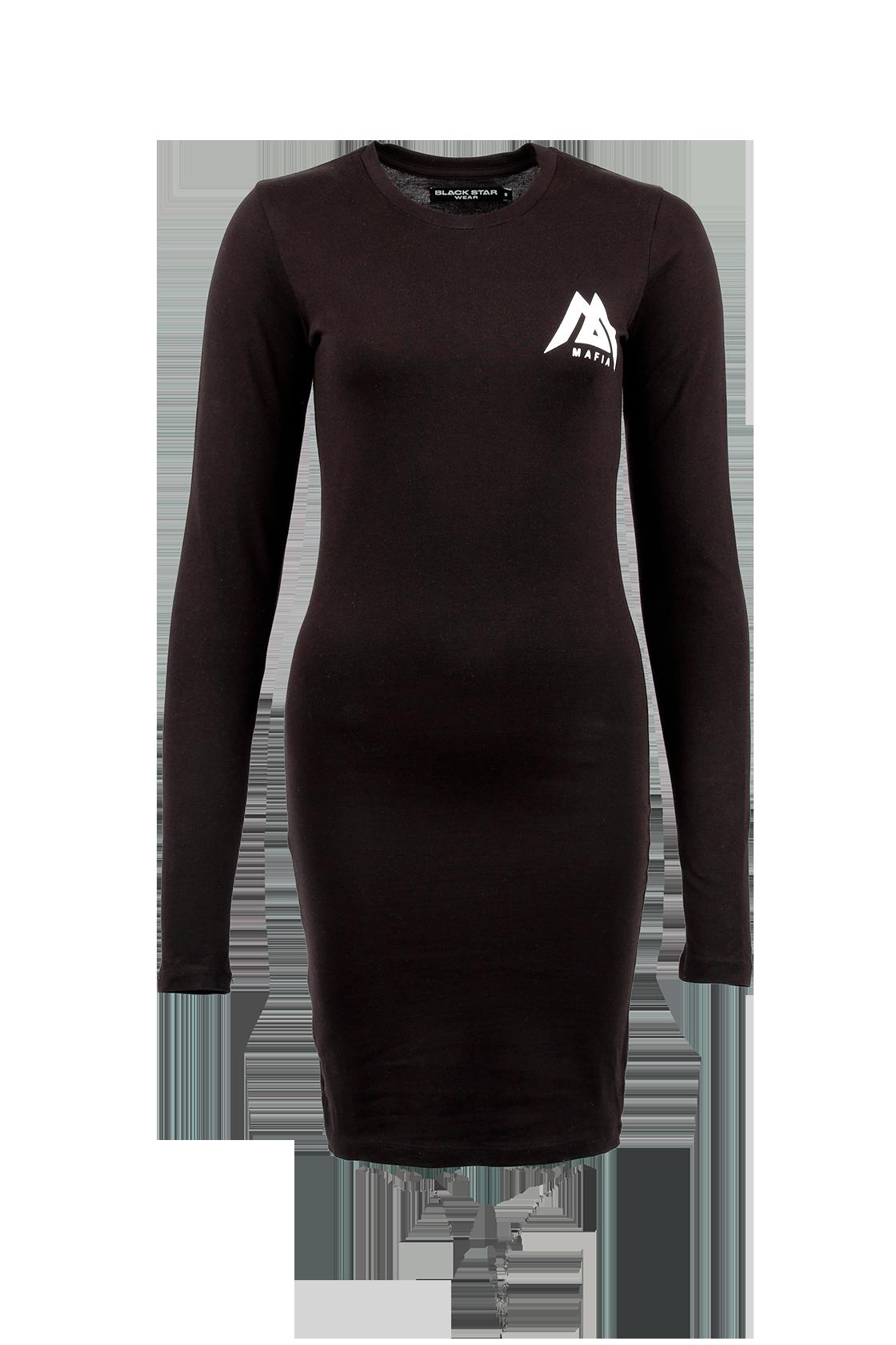 Платье женское Black Star MafiaСтильное платье черного цвета с принтом-надписью в стилистике бренда Black Star для современных девушек. Модель обладает облегающим кроем, позволяющим подчеркнуть достоинства фигуры. Длинный рукав выполнен по типу «лонгслива» - с проймой для большого пальца. Для пошива изделия был выбран высококачественный эластичный материал, хорошо сохраняющий форму и внешний вид.<br><br>Размер: M<br>Цвет: Черный<br>Пол: Женский