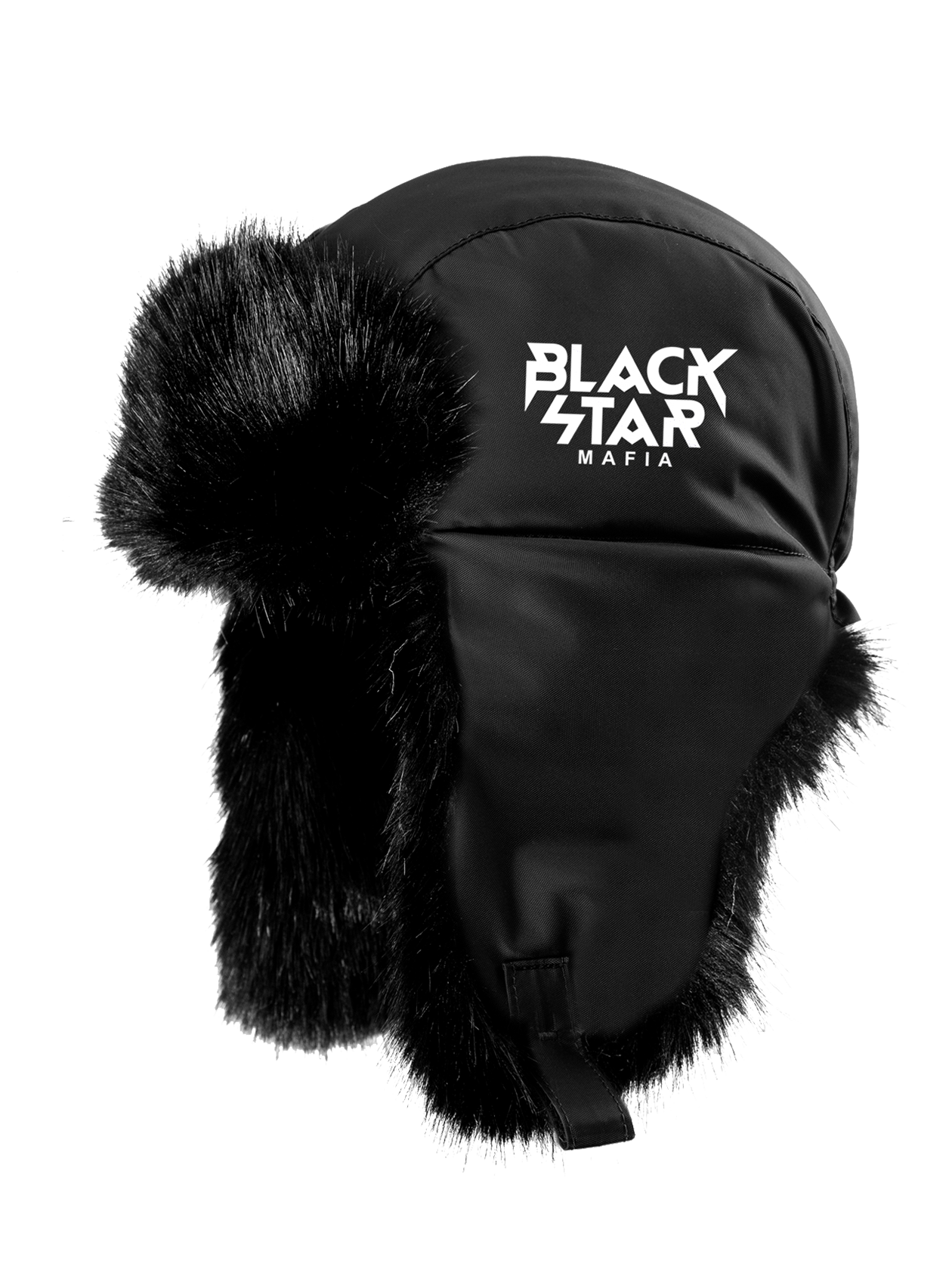 Unisex Hat with ear flaps Black Star MafiaHat with earflaps, appropriate for any season, made of practical neoprene, lined up with high-quality fur inside – an essential accessory for a cold season. The distinctive model unisex is represented in black colour, decorated with an embroidery Black Star Mafia, what makes it very stylish. There are rivets, with the help of which it is possible to change the outlook of the model. It will create comfort and warmth, completing a bright look.<br><br>size: One size<br>color: Black<br>gender: unisex