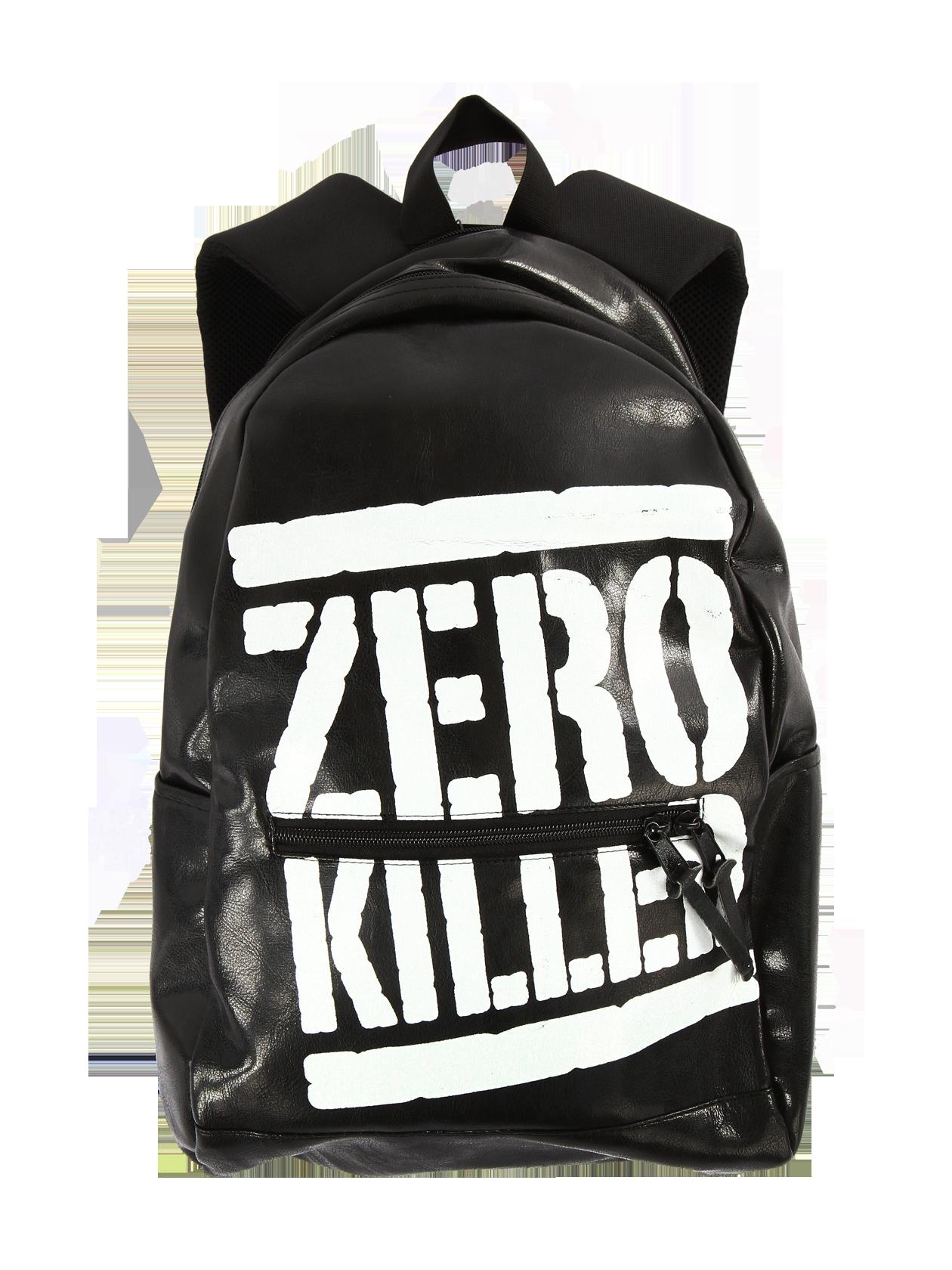 Рюкзак унисекс OK Zero KilledЧерный рюкзак от Black Star Wear, выполненный в стиле унисекс, станет незаменимым атрибутом гардероба активных молодых людей. Модель среднего размера с глубоким отделением на молнии и дополнительным карманом по центру. Аксессуар удобен и практичен в использовании благодаря широким плечевым ремешкам и ручке. Эффектным элементом дизайна является надпись «Zero Killed» - на кожаной поверхности изделия она смотрится, как краска из баллончика.<br><br>Размер: Единый размер<br>Цвет: Черный<br>Пол: Унисекс