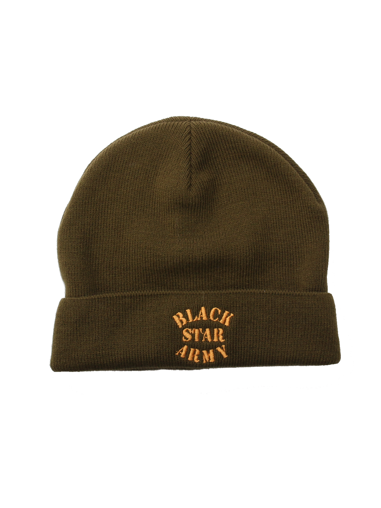 Kids hat Black Star ArmyKids beanie in khaki by Black Star Wear. Turn-up brim, ribbed design, 100% acrylic. Embroidery with Black Star Army lettering. One size.<br><br>size: One size<br>color: Khaki<br>gender: unisex