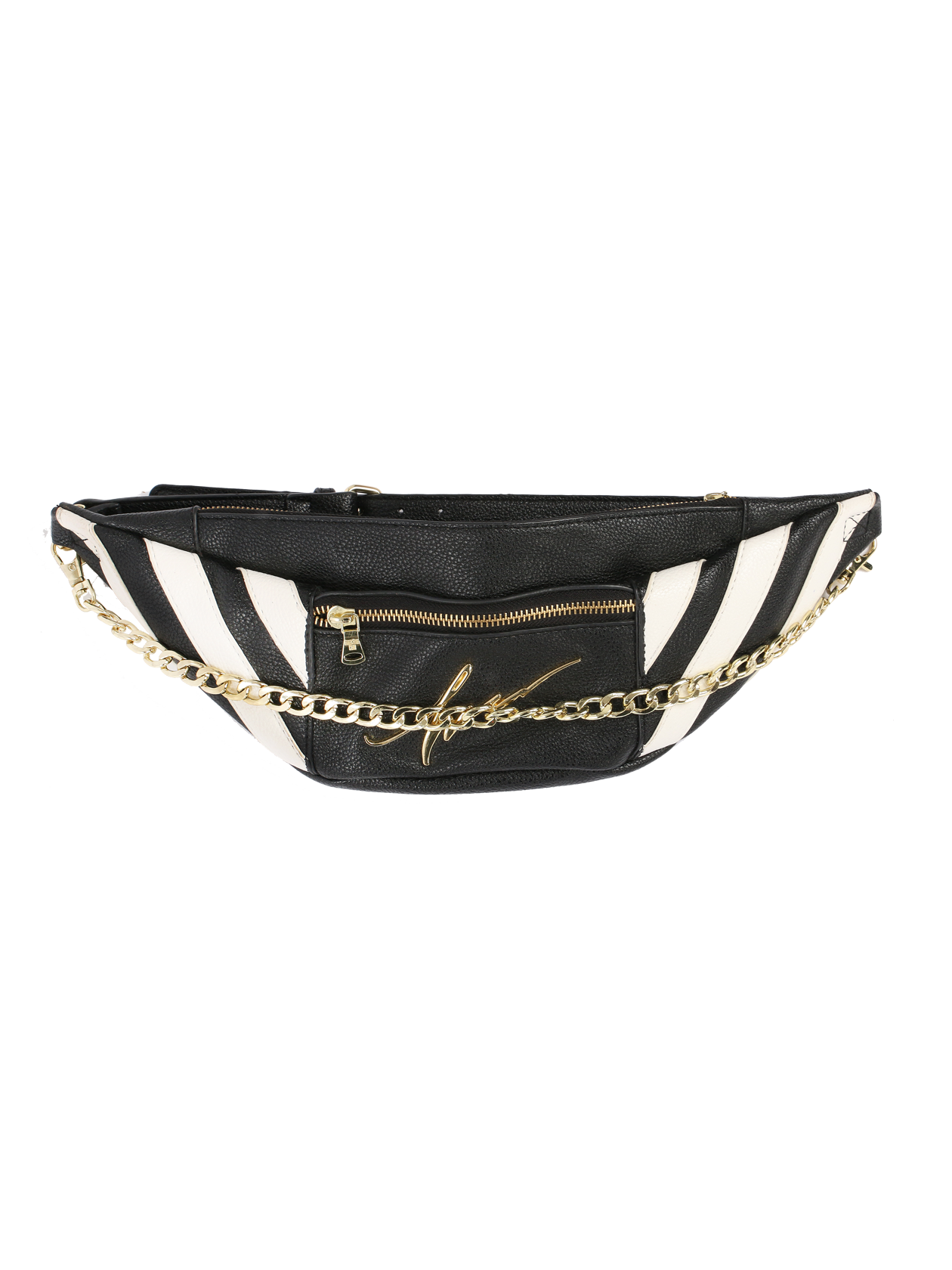 Fanny pack by HannaFanny pack Black Star Wear by Hanna. This small high-quality pack allows you to carry the most necessary things everywhere you go and be sure that they are safe. In front there is a metal Hannas signature. Decorated with contrast stripes and golden furniture.<br><br>size: One size<br>color: Black<br>gender: unisex