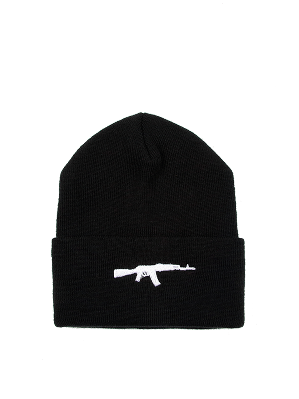 Unisex beanie RIFLEUnisex beanie in black by Black Star Wear. Turn-up brim with a rifle embroidery. 100% acrylic. One size. Perfect for winter.<br><br>size: One size<br>color: Black<br>gender: unisex