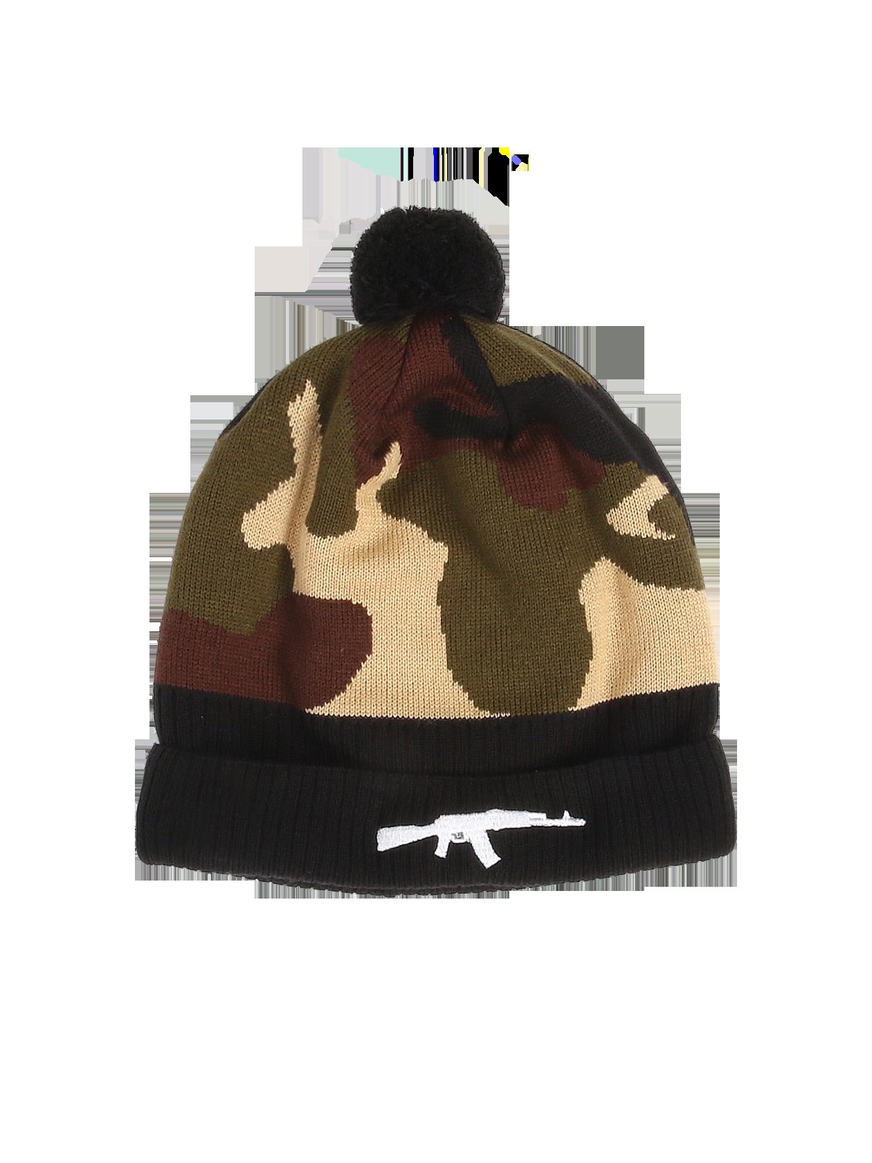 Шапка унисекс Camo RifleТёплая зимняя шапка унисекс Black Star Wear. Модель с подворотом, вышивкой автомат и помпоном. Изделие камуфляжной расцветки из 100% акрила.<br><br>Размер: Единый размер<br>Цвет: Камуфляж<br>Пол: Унисекс