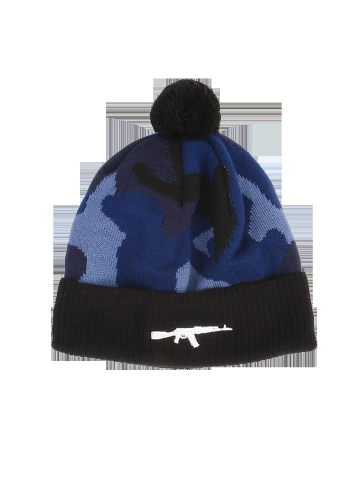 Шапка унисекс Blue Camo RifleТёплая зимняя шапка унисекс Black Star Wear. Модель с подворотом, вышивкой автомат и помпоном. Изделие синей камуфляжной расцветки из 100% акрила.<br><br>Размер: Единый размер<br>Цвет: Камуфляж<br>Пол: Унисекс