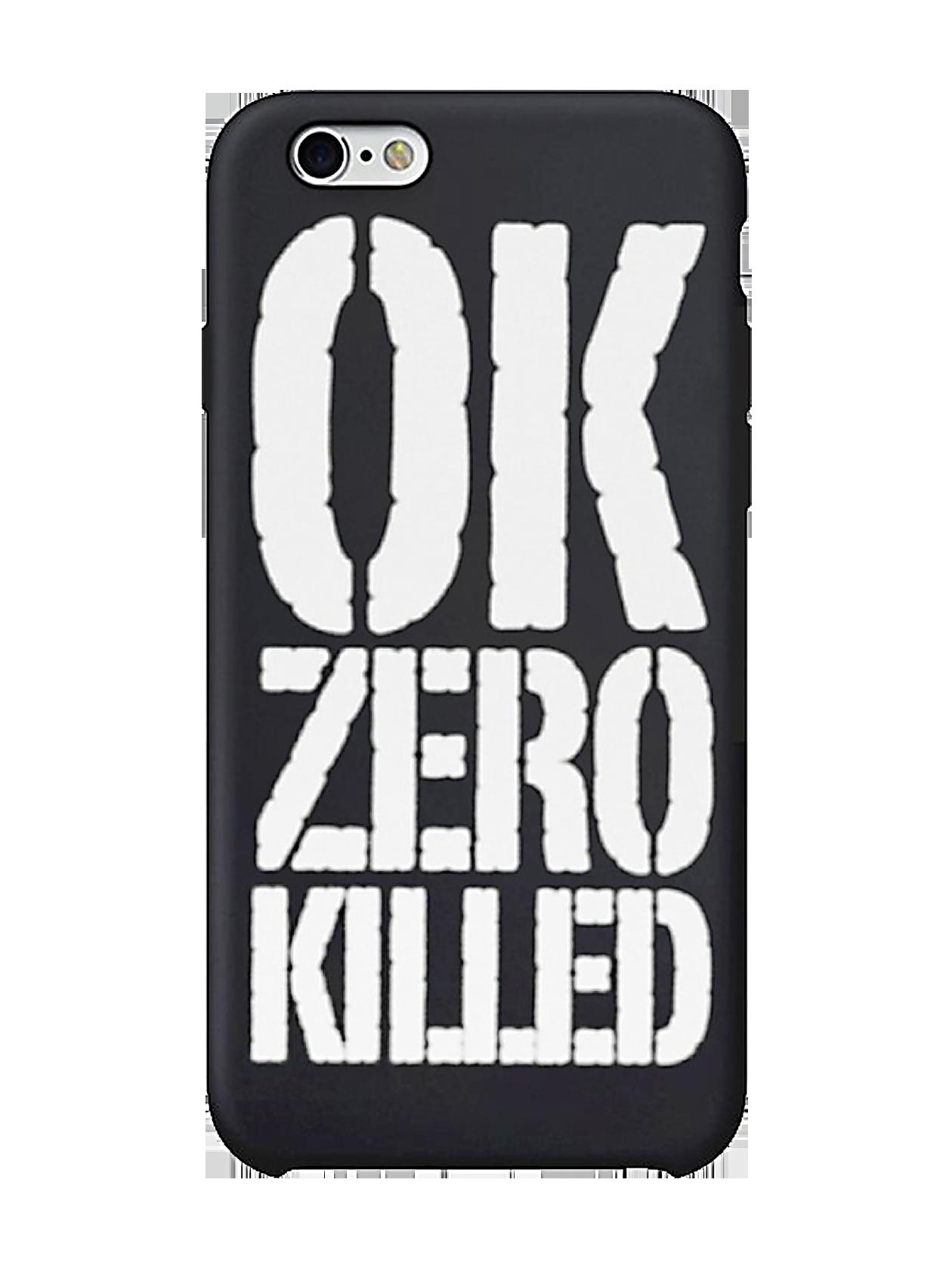 Чехол для iPhone 5/6/6+ OK Zero KilledНовый чехол для iPhone из коллекции Black Star Wear собрал в себе все лучшие черты – стиль, особое качество и эффектность. Черный цвет повышает практичность аксессуара, а крупная белая надпись «ОК Zero Killed» делает его не скучным и броским – беспроигрышное решение для модной молодежи. Такой чехол не только защищает гаджет от загрязнения и механических повреждений, но и становится неотъемлемой частью концептуального образа.<br><br>Размер: 6+<br>Цвет: Черный<br>Пол: Унисекс