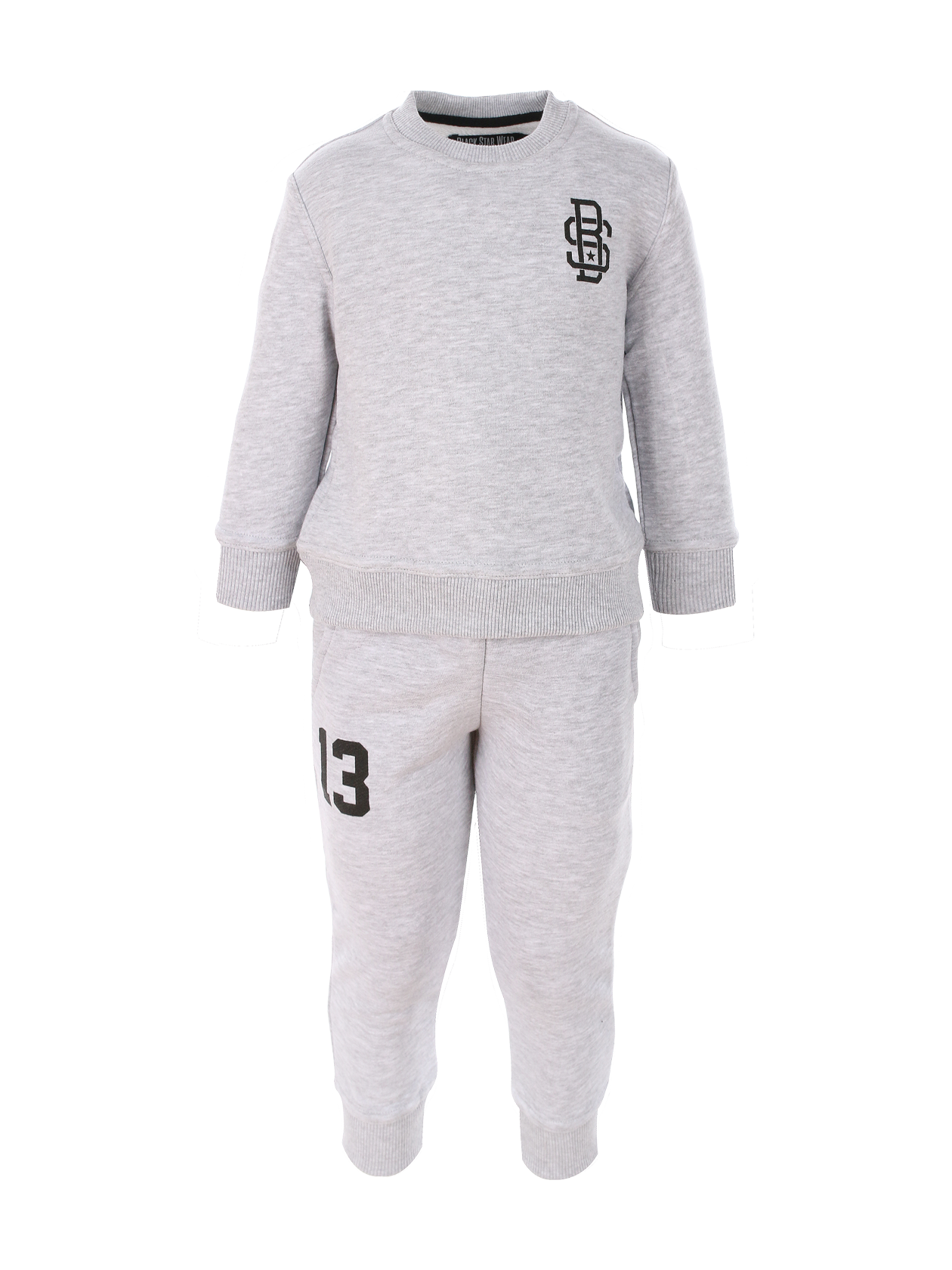 Kids sport suit BS13Kids sweatpants and sweatshirt set by Black Star Wear. Straight fit, natural cotton. Sweatshirt with Black Star monogram on the chest and 13 print on the back. Joggers with side pockets and 13 print on the right side.<br><br>size: 1-2 years<br>color: Grey<br>gender: unisex