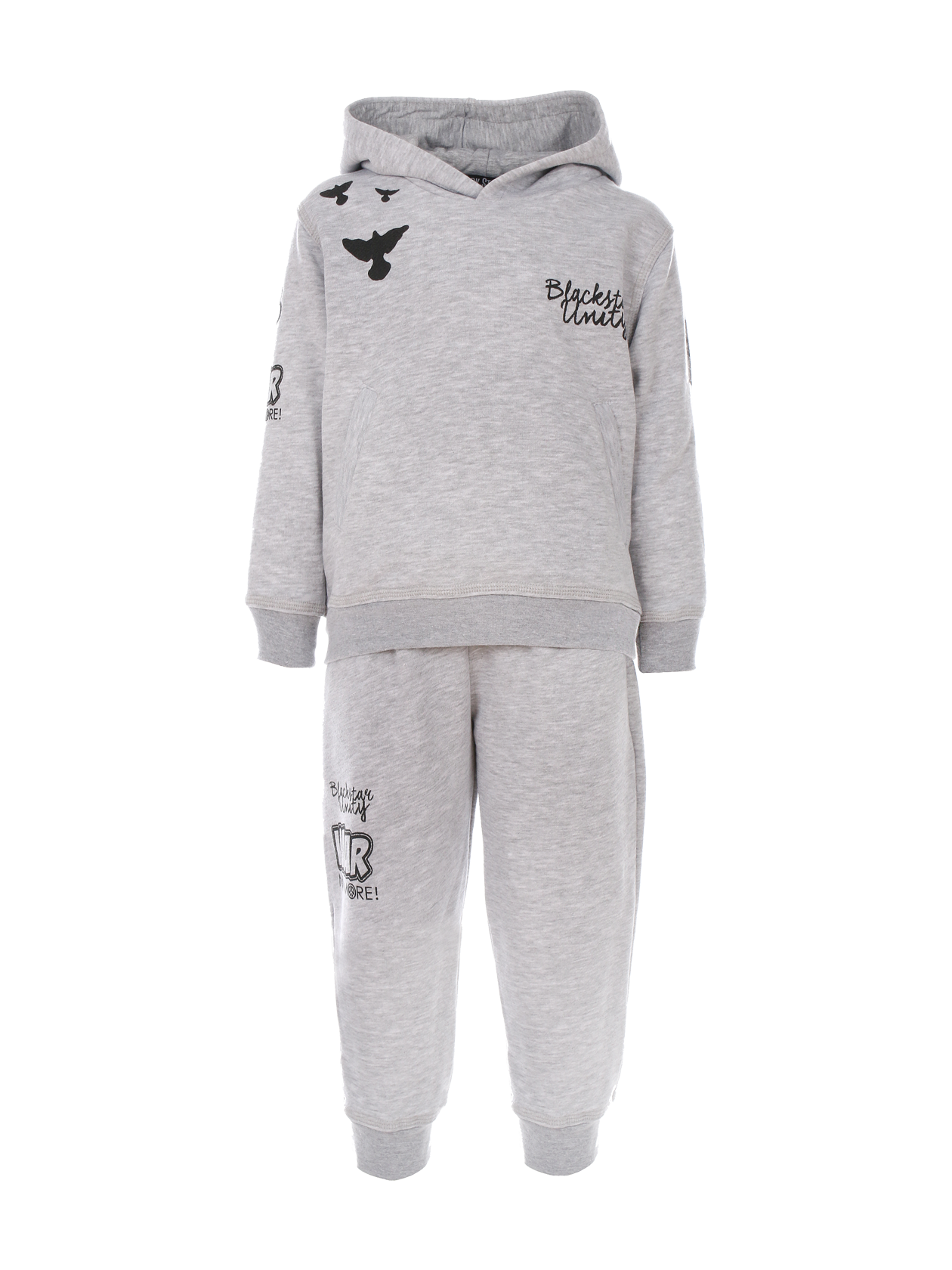 Kids tracksuit Black Star UnityKids sweatshirt and sweatpants set by Black Star Wear. Hoodie with print Blackstar Unity and crows on the chest and printed sleeves. Joggers with side pockets and print on the right side. Avaliable in gray.<br><br>size: 5-6 years<br>color: Gray melange<br>gender: unisex