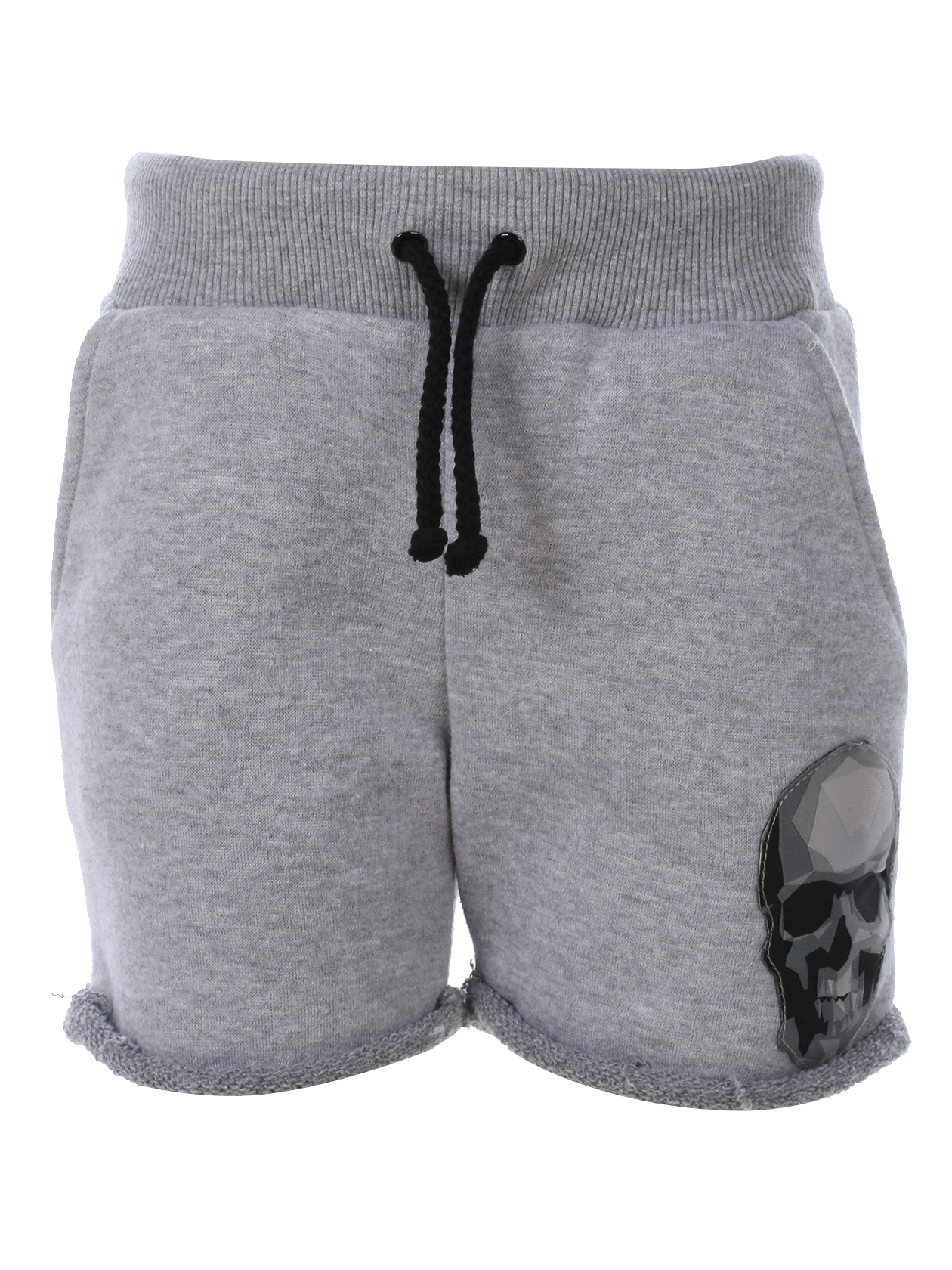 Kids shorts SkullKids shorts by Black Star Wear. Knee length, lacing, regular waist, side pockets, raw cut. 100% natural cotton. Low poly skull patch on the left side. Avaliable in gray.<br><br>size: 5-6 years<br>color: Grey<br>gender: unisex