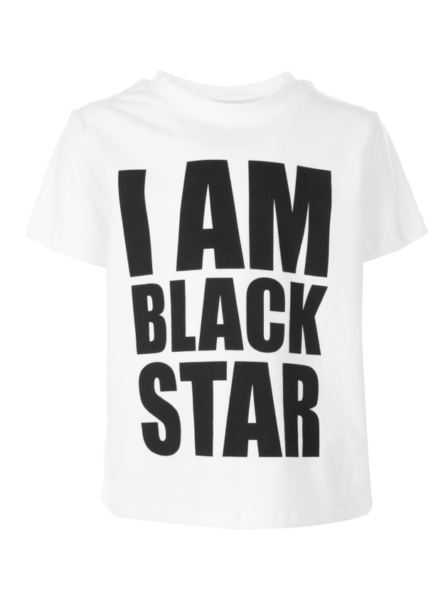 Kids t-shirt I AM BLACK STARKids t-shirt with big chest print by Black Star Wear. Made out of natural cotton tissue. Avaliable in gray and white. 1/2 years: sleeve  9cm, lenght 36cm. 3/4 years: sleeve 9,5cm, lenght 38cm. 5/6 years: sleeve 10cm, lenght 40cm.<br><br>size: 5-6 years<br>color: White<br>gender: unisex