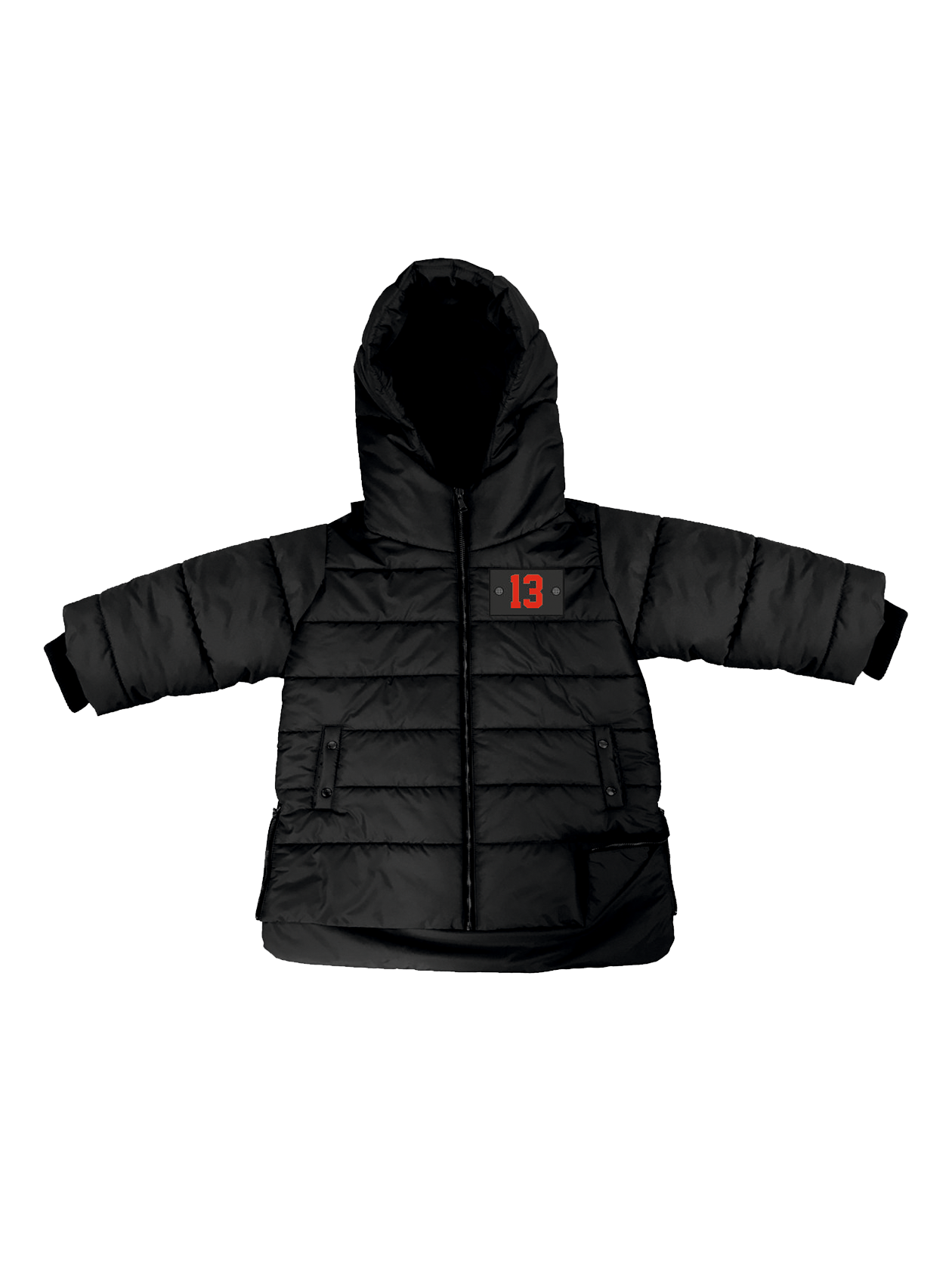 Kids down jacket Black HorizonKids jacket by Black Star Wear. Hooded design, midweight padded fabric for extra warmth, zip fastening, functional side pockets. Regular fit - true to size. Patch  with red 13 on the left side for the black jacket and Black Star patch for khaki. Long line with assimetrical cut. Elastic cuffs, small side zips. 100% polyester.<br><br>size: 7-8 years<br>color: Black<br>gender: unisex