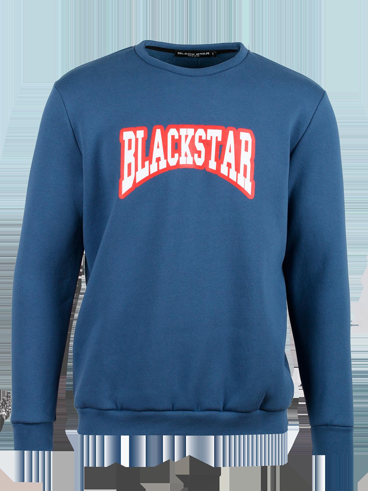 Толстовка унисекс CollageТолстовка унисекс из коллекции Black Star Wear. Прямой крой, округлая горловина, манжеты и нижний край не эластичные. Большой контрастный принт Blackstar на груди. Материал изделия: бленд натурального хлопка. Модель доступна в синем и красном цвете.<br><br>Размер: XS<br>Цвет: Синий<br>Пол: Мужской