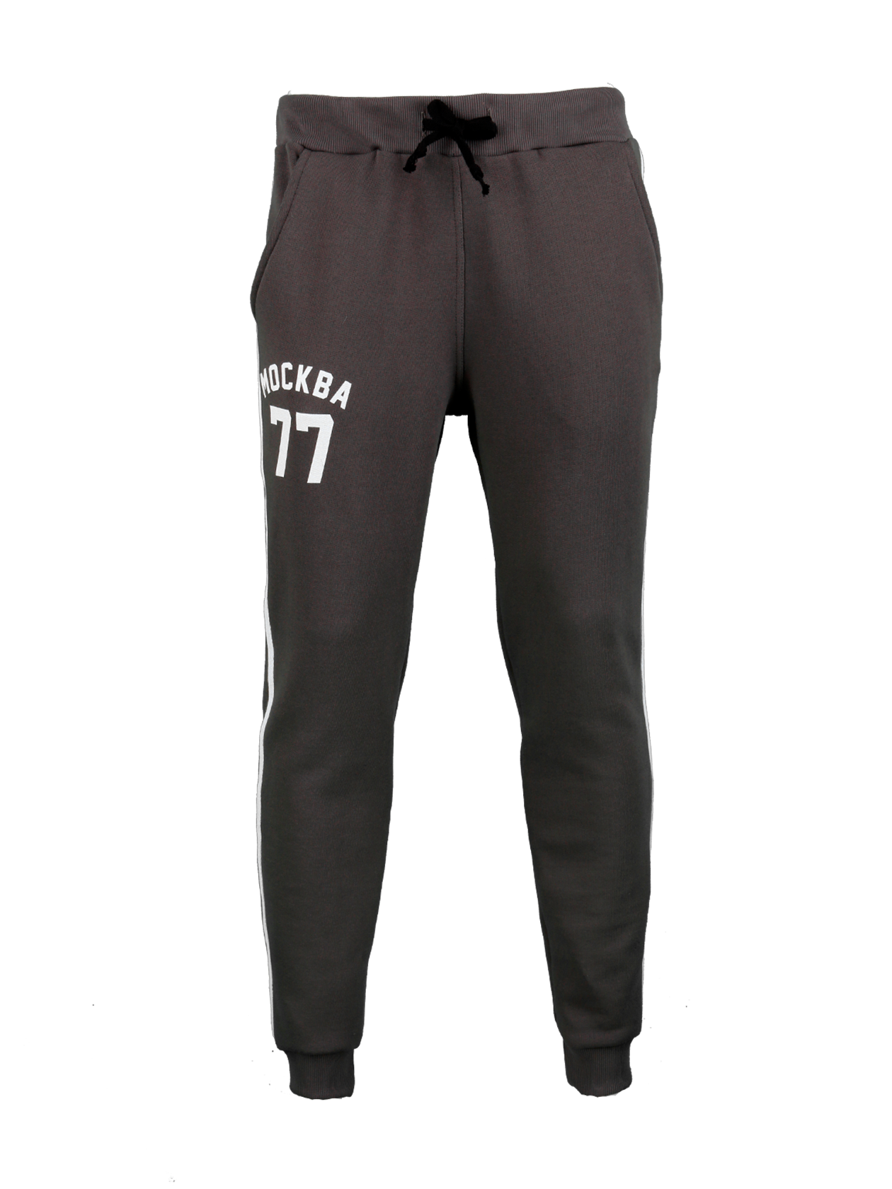Mens Trousers Moscow 77Mens sweatpants by Black Star Wear. Straight fit, side pockets, elastic band on the waiste and ankles. Avaliable in gray with white contrasting lines and Moscow 77 print on the right side. Material: 100% natural cotton.<br><br>size: M<br>color: Grey<br>gender: male