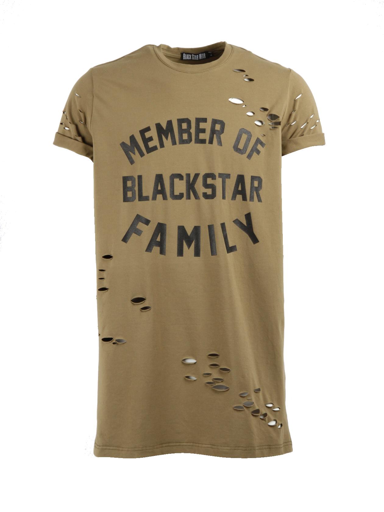 Mens t-shirt Member of BS familyНеординарная мужская футболка Member of BS Family – стильная вещь от бренда Black Star Wear. Модель выполнена в цвете хаки, множественные порезы и чёрный глянцевый принт с надписью на груди выступают в качестве элементов дизайна. Свободный удлиненный крой, округлая горловина и классический рукав с подворотом. Внутри по вороту жаккардовый лейбл. Материал пошива – 100% хлопок. Идеальный вариант для создания яркого образа.<br><br>size: XS<br>color: Camel<br>gender: male