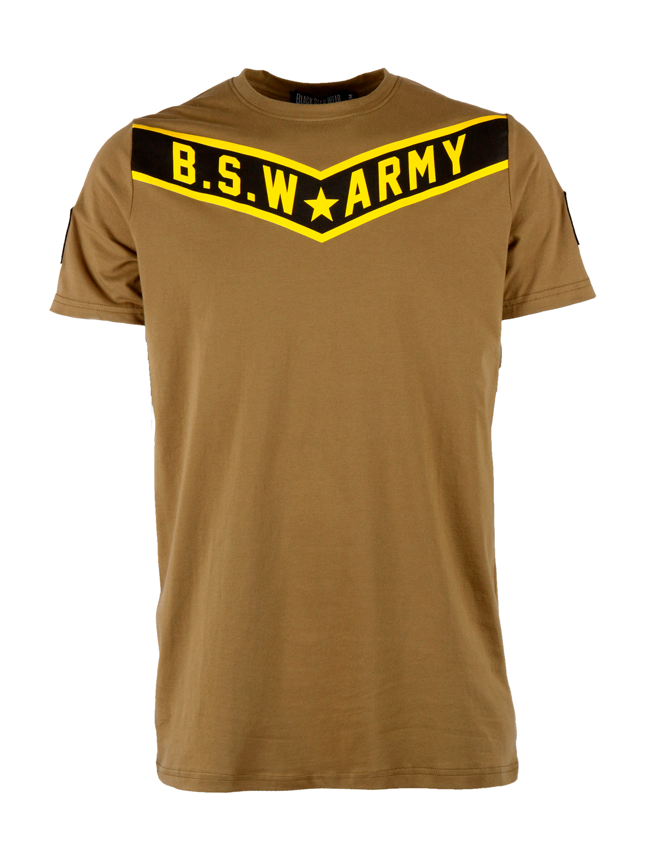 Mens t-shirt B.S.W. ArmyMens military style t-shirt by Black Star Wear. Longline cut, straight fit, natural cotton (95%) and lycra (5%) blend, o-neck. Shevron patches on the sleeves, B.S.W. Army print in black and yellow on the chest. Avaliable in khaki.<br><br>size: S<br>color: Khaki<br>gender: male