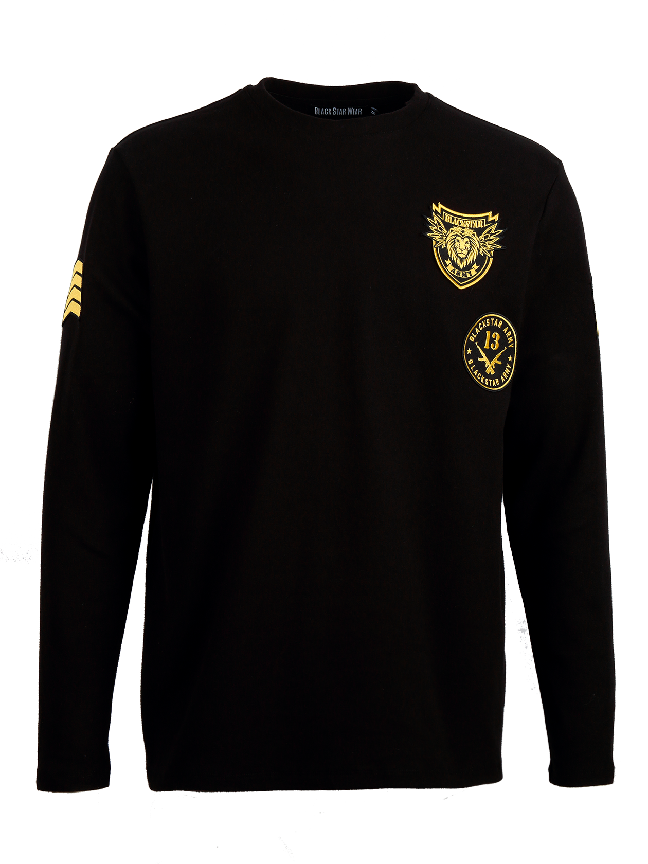 Mens long sleeve t-shirt Black Star Army