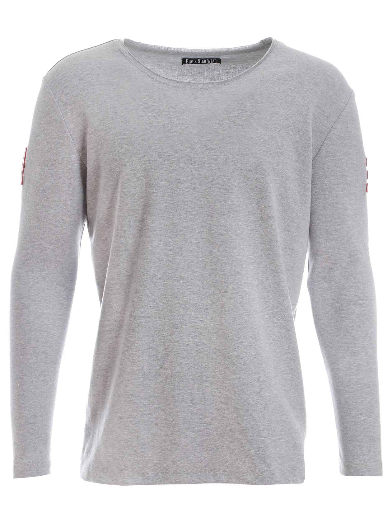 Mens long sleeve t-shirt SCOOP 13Mens long sleeve t-shirt by Black Star Wear. Straight cut, regular fit, raw cut neckline. Patches on sleeves - 1 and 3. Material: natural cotton - 90%, lycra - 10%. Avaliable in black, gray and white.<br><br>size: XL<br>color: Gray melange<br>gender: male