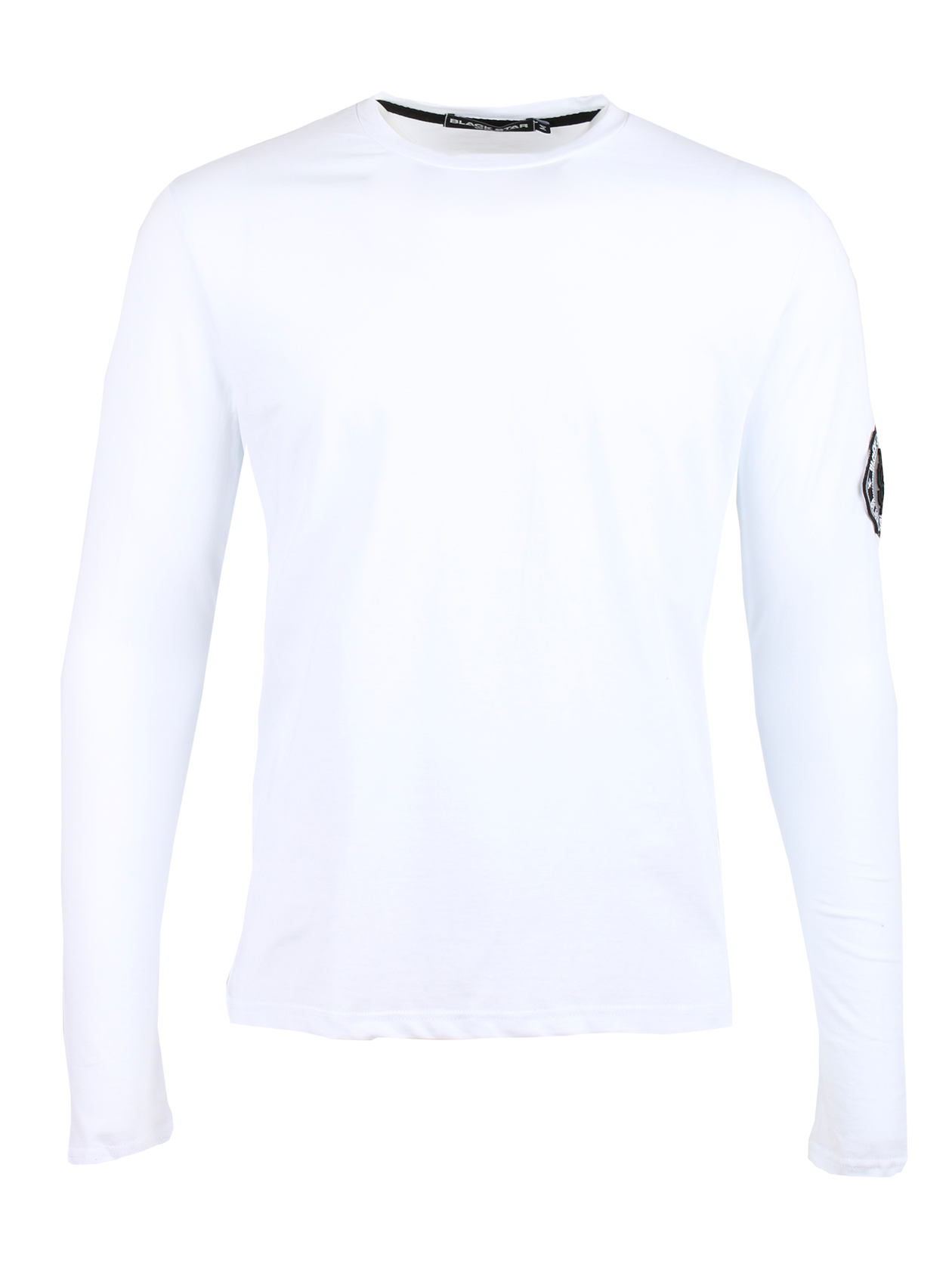 Mens long sleeve t-shirt StoneMens long sleeve t-shirt by Black Star Wear. Straight cut, regular fit, raw cut neckline. Patch on the left sleeve. Material: natural cotton - 90%, lycra - 10%. Avaliable in black and white.<br><br>size: XS<br>color: White<br>gender: male