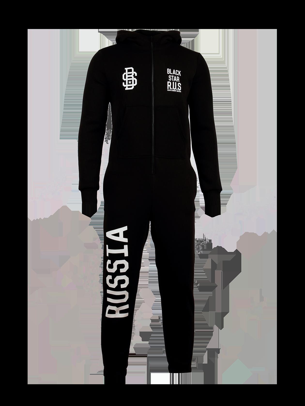 Комбинезон унисекс BLACK STAR R.U.S.Комбинезон унисекс Black Star R.U.S. для любителей нестандартных решений. Стильная модель черного цвета с белыми вышивками на груди в виде надписей и логотипа Black Star. Крупная нашивка «Russia» на правой штанине и принт «двуглавый орел» на спине. Длинный рукав и низ брюк оформлены широкой эластичной резинкой. Спереди застежка-молния, воротник выполнен в форме хомута, переходящего в капюшон. Эффектный дизайн отлично сочетается с высокой практичностью изделия за счет натурального хлопка.<br><br>Размер: XXS<br>Цвет: Черный<br>Пол: Мужской