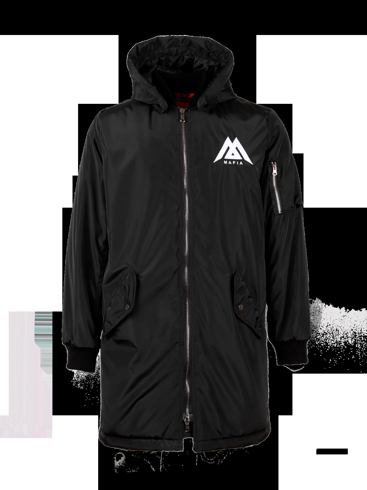 Зимняя куртка-бомбер мужская Black Star MafiaЧерная мужская куртка из новой коллекции Black Star Wear – стильное и практичное решение для холодного сезона. Удлиненная модель со съемным капюшоном принтована надписями и символами спереди и на спине в стилистике бренда. Изготовлена из практичного и влагоотталкивающего нейлона. Бомбер оформлен декоративными молниями, плотными трикотажными резинками на манжетах.<br><br>Размер: XS<br>Цвет: Черный<br>Пол: Мужской