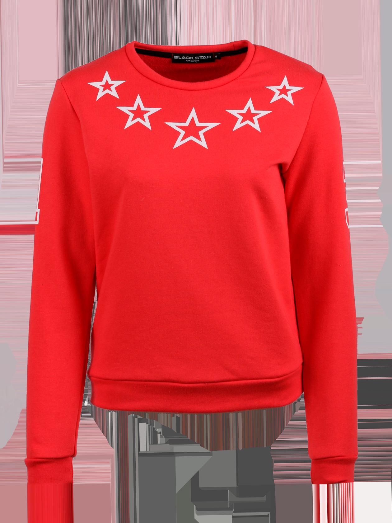 Толстовка женская STARSТолстовка женская из коллекции Black Star Wear. Прямой крой, округлая горловина, манжеты и нижний край не эластичные. Принт с изображением звёзд на груди, цифра 1 на правом рукаве и 3 на левом. Материал изделия: бленд натурального хлопка. Модель доступна в коралловом, белом, зелёном и сером цветах.<br><br>Размер: M<br>Цвет: Красный<br>Пол: Женский