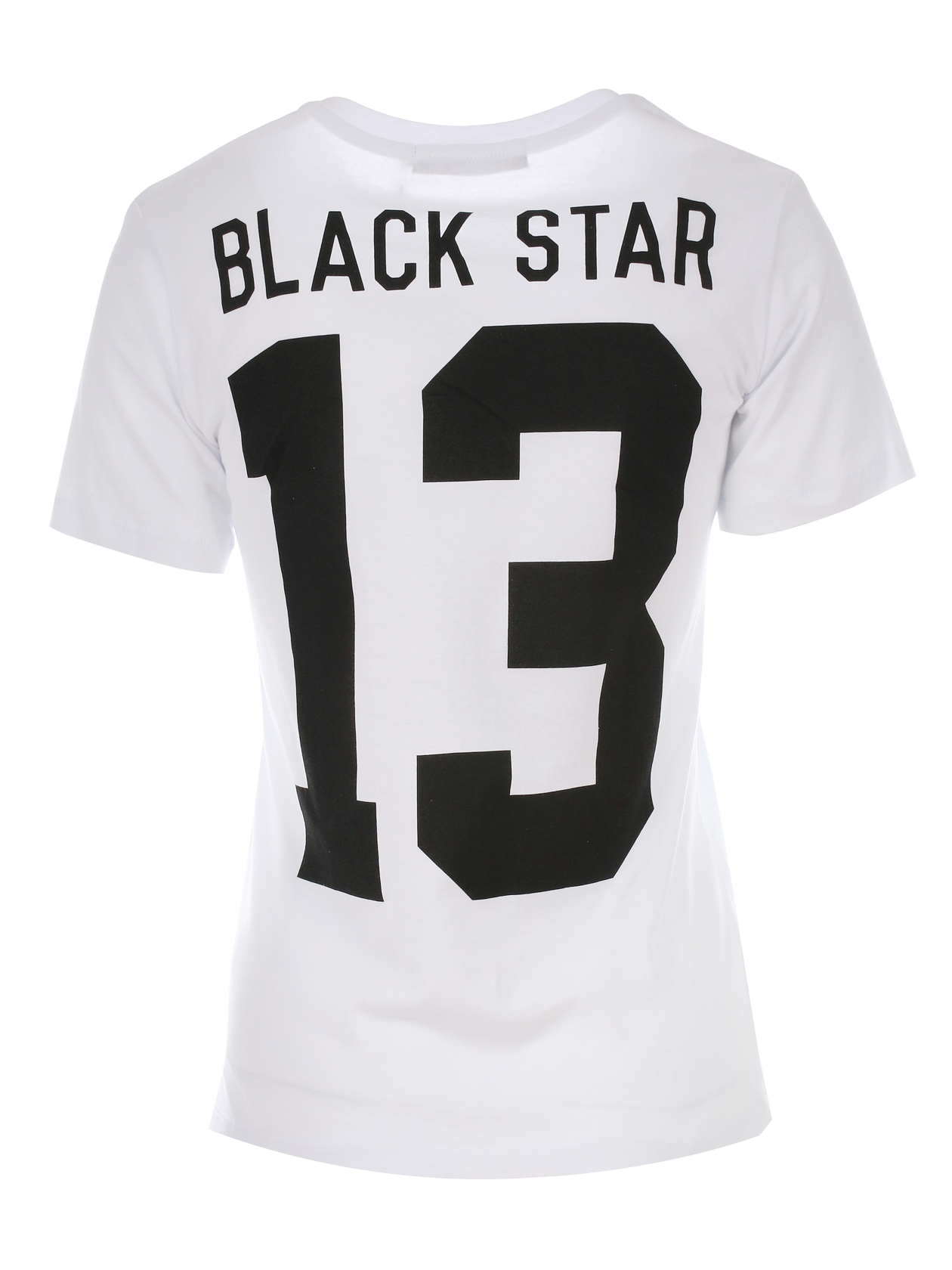Футболка женская 13Женская футболка Black Star Wear. Модель полусвободного кроя с небольшим рукавом и округлой горловиной. Большой принт Black Star 13 на спине. Выполнена из высококачественного хлопкового полотна. Доступна в белом и чёрном цветах.<br><br>Размер: L<br>Цвет: Белый<br>Пол: Женский