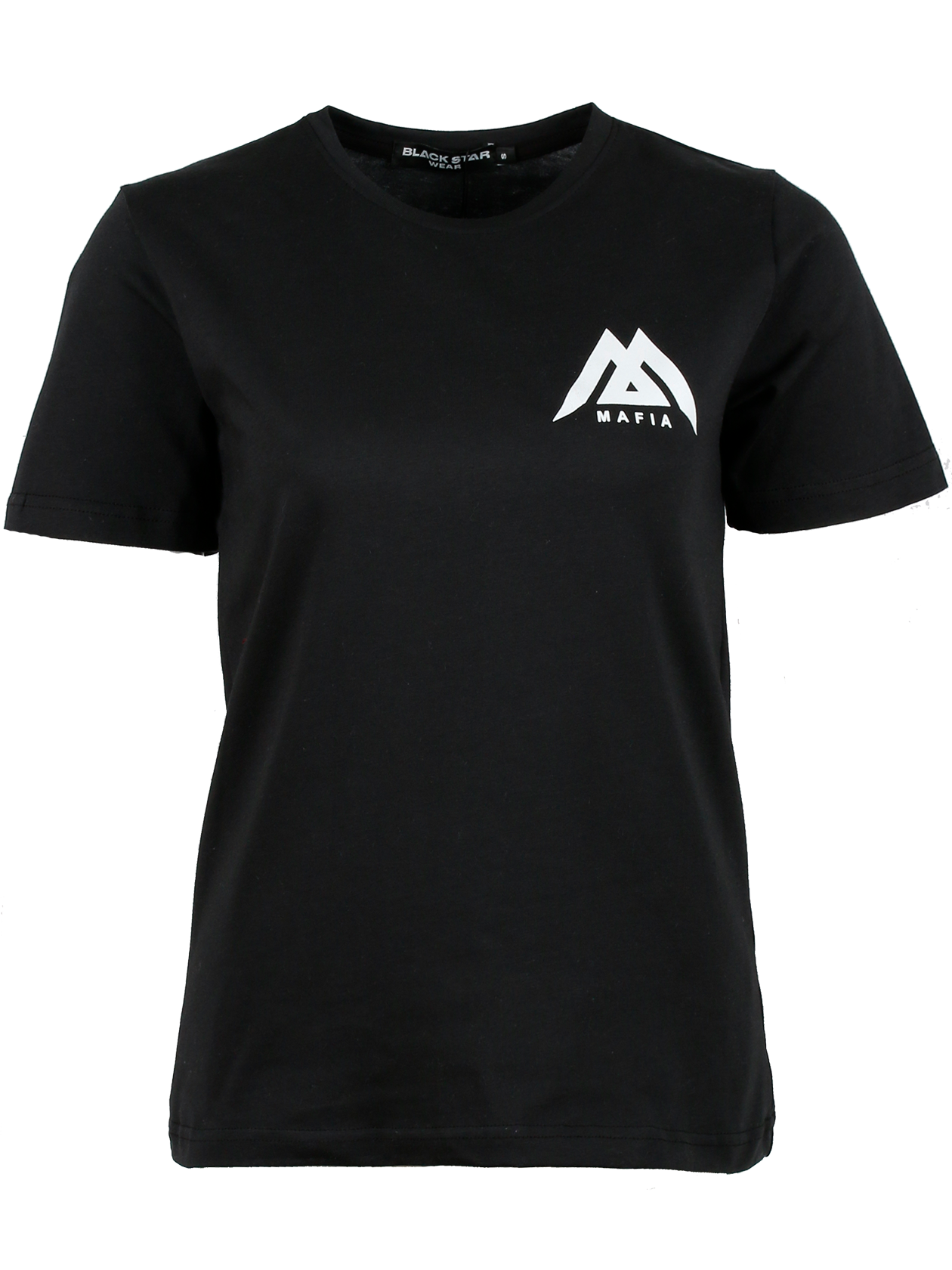 Womens t-shirt Black Star MafiaWomens Black Star Mafia t-shirt by Black Star Wear. Straight fit, classic sleeve, round neck. High quality cotton material. Black Star Mafia lettering on the back and Black Star Mafia logo on the chest. Avaliable in black.<br><br>size: S<br>color: Black<br>gender: female
