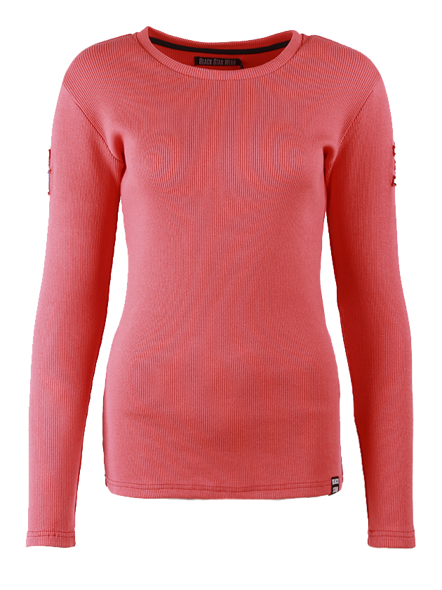 Womens long sleeve t-shirt SilhouetteWomens tricot long sleeve t-shirt by Black Star Wear. Slim fit, o-neck, long sleeves. Patch 1 on the right sleeve and patch 3 on the left sleeve. This long sleevve t-shirt keeps your warmth when its cold and when the tempratures rising -  you wont feel sweaty. Tottally a must-have! Avaliable in: burgundy, milky, beige, red, black and pink.<br><br>size: S<br>color: Pink<br>gender: female