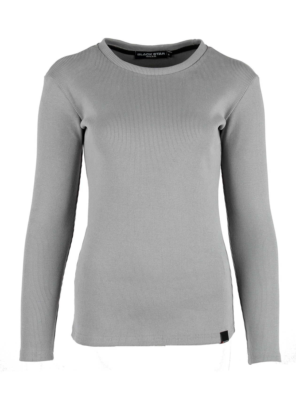 Womens long sleeve t-shirt BasicWomens long sleeve t-shirt by Black Star Wear. Slim fit, o-neck, lond sleeves. Small black label with #blackstar on the front. Natural cotton (90%) and lycra (10%) blend.<br><br>size: L<br>color: Grey<br>gender: female