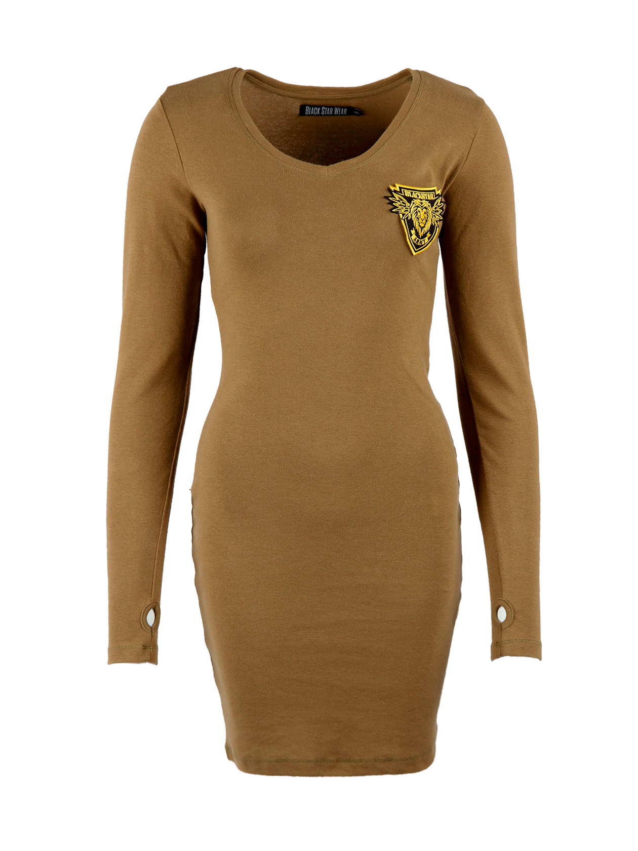 Womens dress Black Star ArmyWomens dress by Black Star Wear. Above knee length, slim fit, V-neck, long sleeves with a thumb hole. Natural cotton plus lycra for better fitting. Black Star Army patch on the chest with a lions head. Avaliable in khaki.<br><br>size: L<br>color: Khaki<br>gender: female