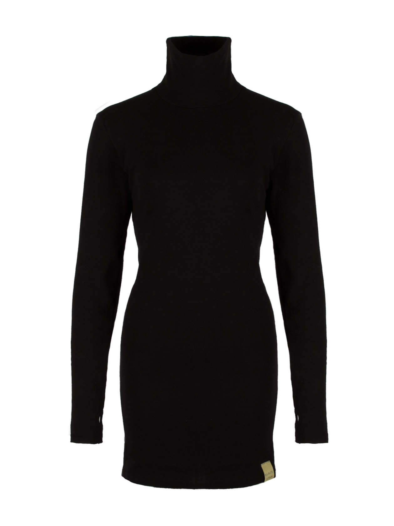 Womens dress Black Star №13Womens black dress by Black Star Wear. Above knee length, slim fit, turtle neck, long sleeves with a thumb hole. Natural cotton plus lycra for better fitting. Black Star label on the front.<br><br>size: S<br>color: Black<br>gender: female