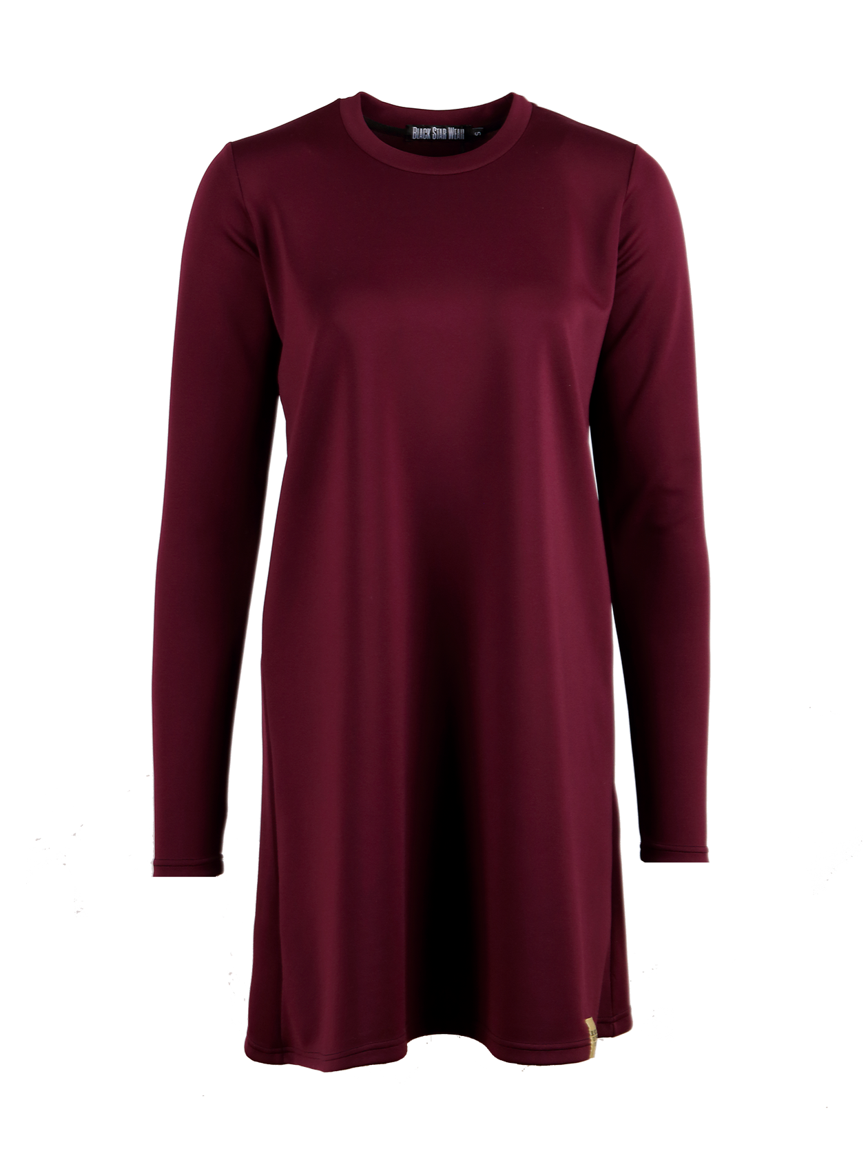 Womens dress SmartRoyal purple dress by Black Star Wear. Long sleeves, o-neck, knee-length. 85% viscose, 15% linen.<br><br>size: M<br>color: Purple<br>gender: female