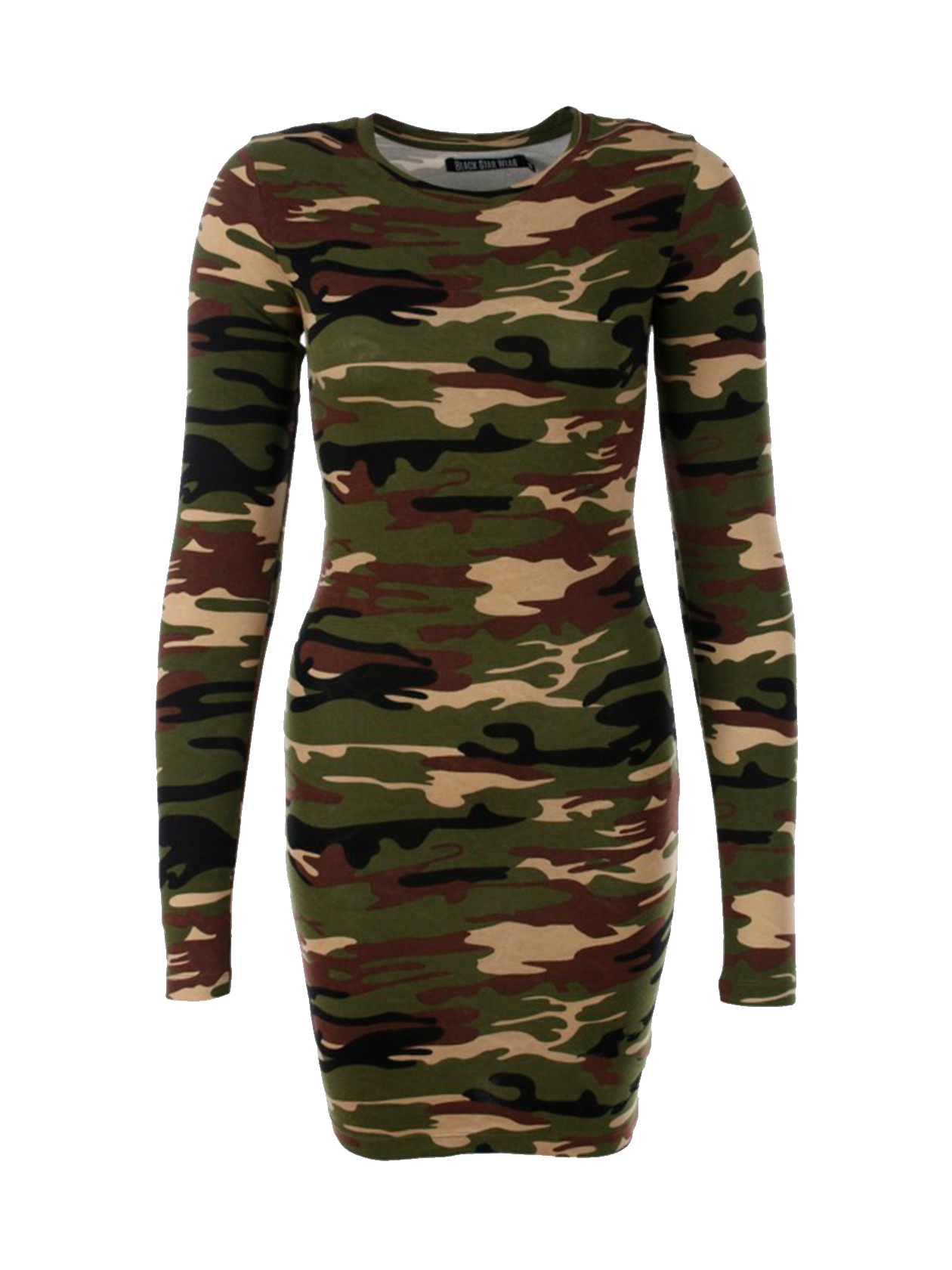 Womens dress Camo 2.0Womens dress in camouflage by Black Star Wear. Mostly cotton, o-neck, long sleeves, knee length, slim fit. Small Black Star label on the front.<br><br>size: XS<br>color: Camouflage<br>gender: female