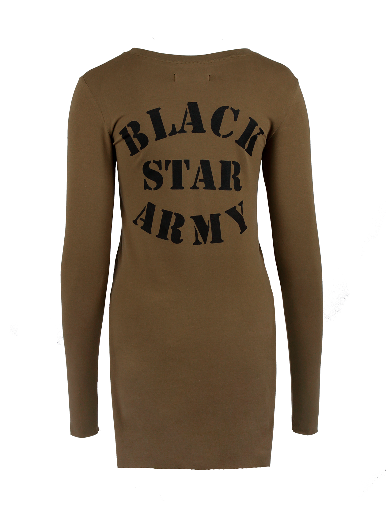 Womens tunic Black Star ArmyWomens tunic by Black Star Wear. Knee length, long sleeves, o-neck, raw cuts. Black Star Wear print on the back. Natural cotton and elastan blend. Avaliable in khaki.<br><br>size: S<br>color: Khaki<br>gender: female