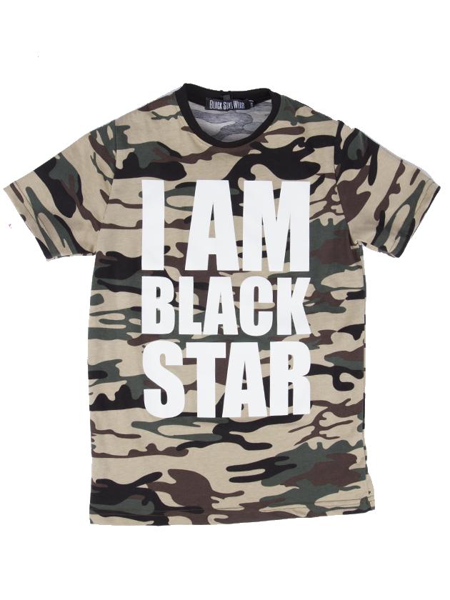 Футболка подростковая I AM BLACK STAR CAMOПодростковая футболка Black Star Wear. Модель классического кроя с крупным белым принтом I am Black Star спереди, округлая горловина контрастного чёрного цвета. Выполнена из натурального хлопка, доступна в камуфляжной расцветке.<br><br>Размер: 12-14 years<br>Цвет: Камуфляж<br>Пол: Унисекс