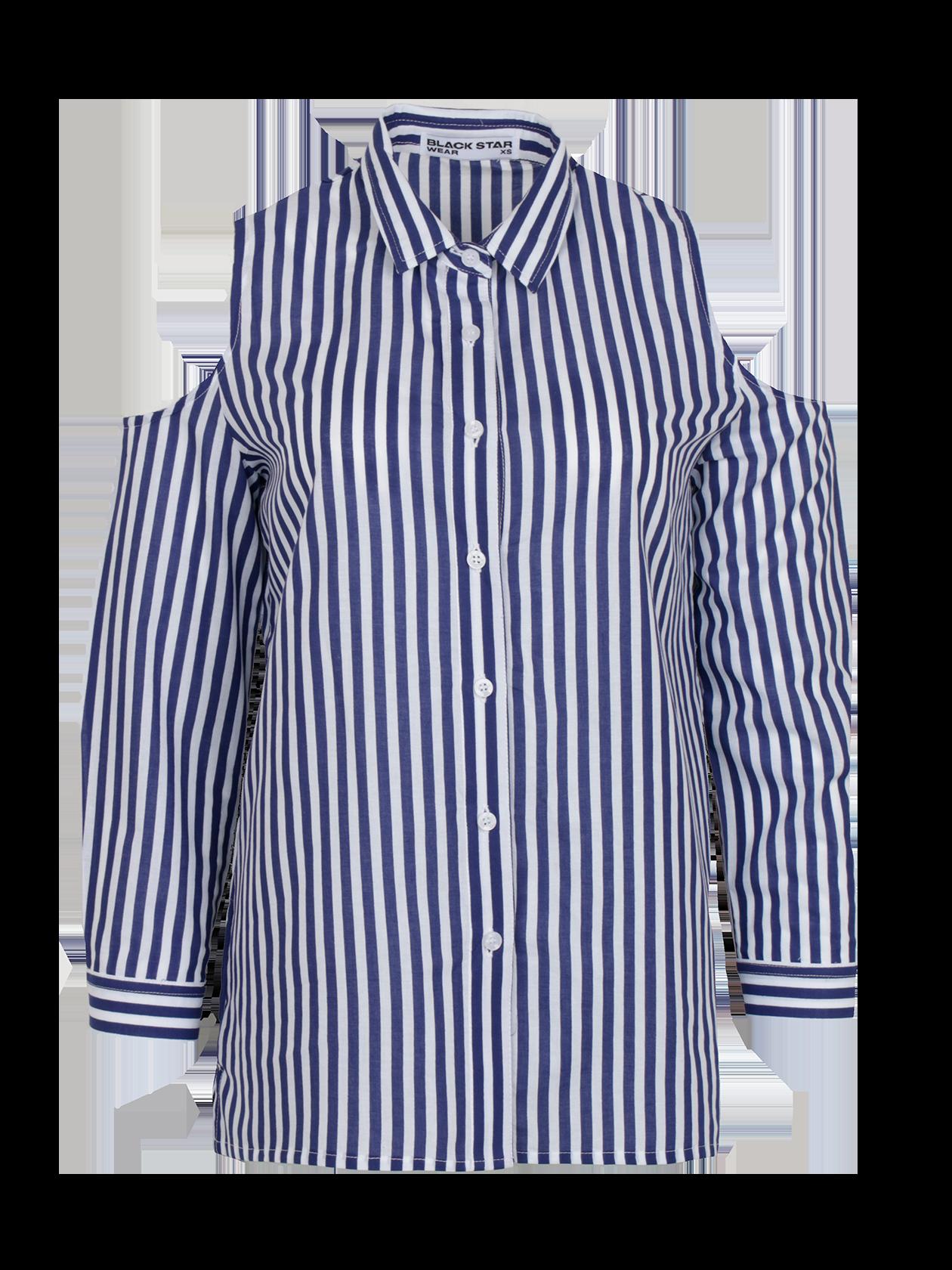 Рубашка женская ROYALTY 13Модная рубашка женская Royalty 13 для создания стильного образа на каждый день. Модель классического дизайна с прямым кроем, рубашечным воротником и планкой с пуговицами. Эффектная фишка изделия – глубокий вырез в верхней части рукавов. Для пошива вещи использовано особое хлопковое полотно, отличающееся практичностью и долговечностью. Рубашка представлена в белой, ментоловой и синий/белой расцветке. Подберите к ней леггинсы, брюки или юбку из коллекции Black Star Wear и станьте настоящей иконой стиля.<br><br>Размер: S<br>Цвет: Черный/Белый<br>Пол: Женский