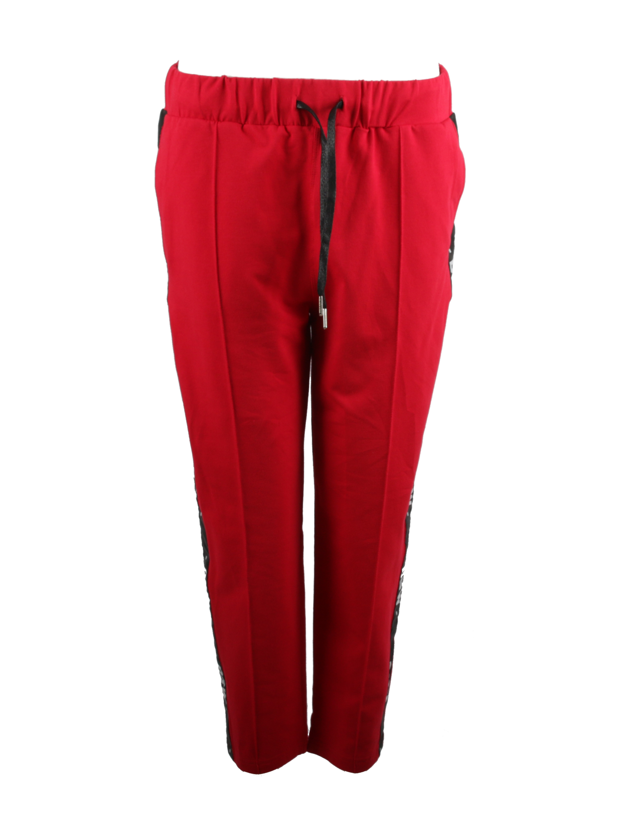 Брюки мужские STRIPE BSЧерные брюки мужские Daily Star – незаменимая вещь в шкафу. Модель лаконичного кроя обладает прямым зауженным к низу силуэтом. Широкий пояс на резинке дополнен завязками для лучшей фиксации по фигуре. Сзади и по бокам внутренние карманы, позволяющие хранить личные предметы. Декоративные элементы дизайна – боковые вставки в виде вертикальных полосок с многочисленными надписями BSW. Брюки мужские изготовлены из высококачественного натурального материала на основе хлопка. Идеально подходят для спорта, отдыха и на каждый день.<br><br>Размер: M<br>Цвет: Красный<br>Пол: Мужской