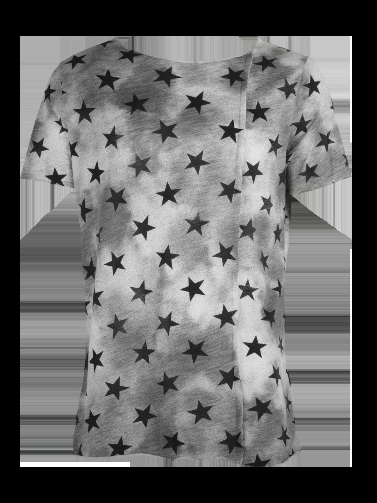 Футболка унисекс SUPER STARФутболка унисекс Super Star – стильная и практичная вещь на каждый день. Модель прямого кроя, свободного силуэта с широким коротким рукавом. Горловина выполнена в форме полумесяца, содержит лейбл бренда Black Star Wear с изнаночной стороны. Актуальная в любом сезоне серая расцветка с затемнениями и рисунком в виде черных звезд по всему изделию. На спине в районе горловины оформлен принт с цифрой 13. Футболка изготовлена из элитного 100% хлопка.<br><br>Размер: L<br>Цвет: Серый<br>Пол: Мужской