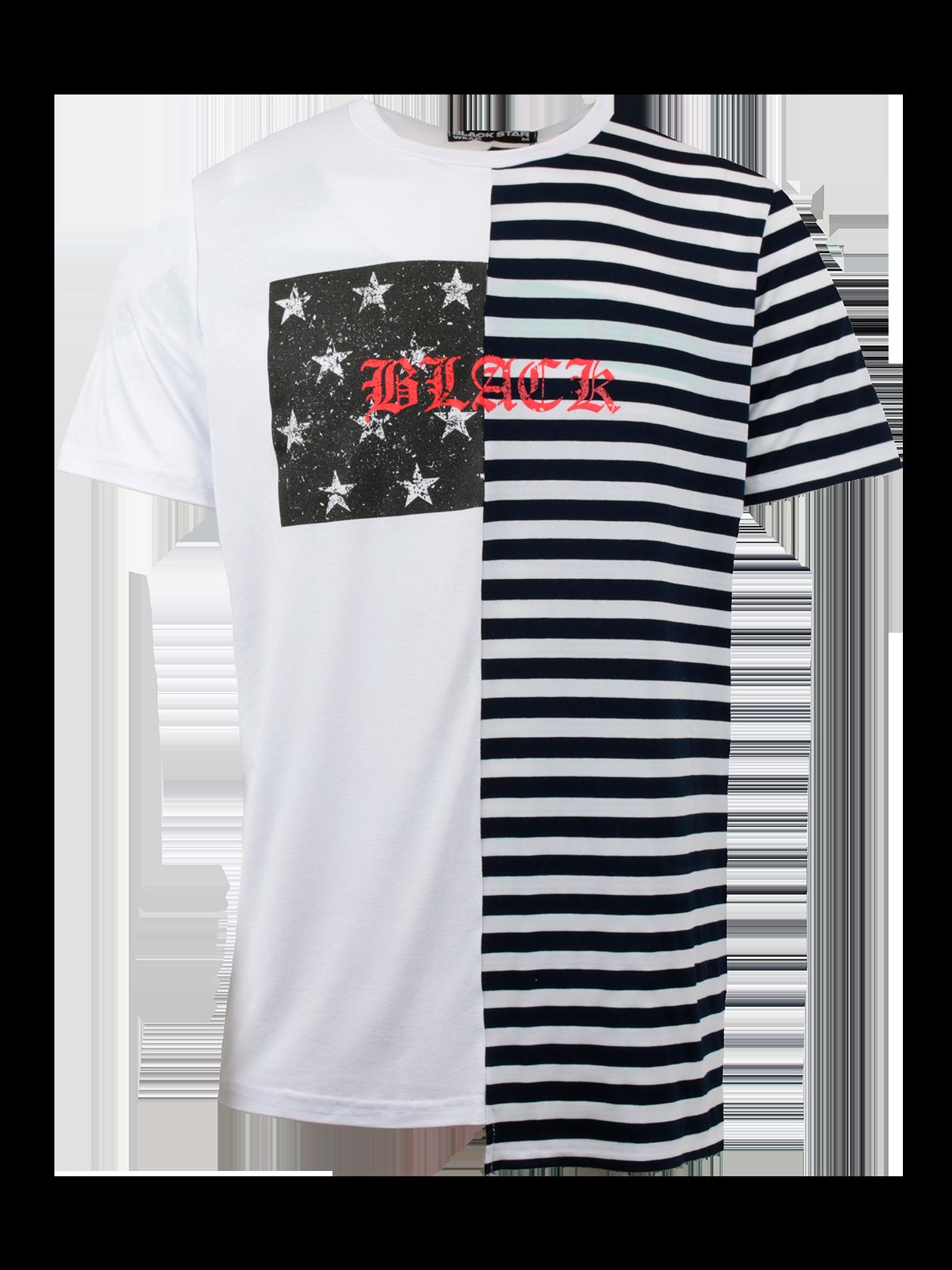 Футболка мужская HALF BLACK STARФутболка мужская Half Black Star – идеальное решение для создания образа спортивного и повседневного стиля. Удлиненная модель традиционного прямого кроя с коротким свободным рукавом. Узкая горловина с эластичной окантовкой содержит на внутренней стороне лейбл Black Star Wear. Изделие привлекает внимание оригинальной расцветкой – одна половина белого цвета, другая оформлена полосками. На груди крупный принт со звездами и надпись красными буквами Black. Созданная из натурального хлопка, футболка мужская отличается высокой практичностью и износоустойчивостью.<br><br>Размер: XL<br>Цвет: Белый<br>Пол: Мужской