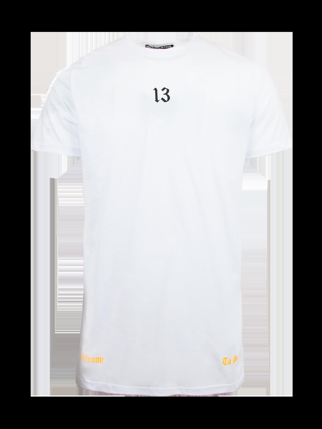 Футболка мужская WELCOME TO BSСтильная футболка мужская Welcome to BS – идеальное решение для создания повседневного и спортивного образа. Белая расцветка актуальная в любом сезоне, ее способность отражать прямые лучи солнца обеспечит дополнительный комфорт в жаркую погоду. Натуральный хлопок премиального качества отвечает за практичность вещи. Модель обладает прямым свободным кроем, коротким рукавом и узкой округлой горловиной с лейблом Black Star Wear внутри. Дизайн футболки дополнен эффектным принтом с крупными черными надписями и символикой бренда BSW на спине, цифрой 13 спереди и надписями золотыми буквами по бокам.<br><br>Размер: XXS<br>Цвет: Черный<br>Пол: Мужской