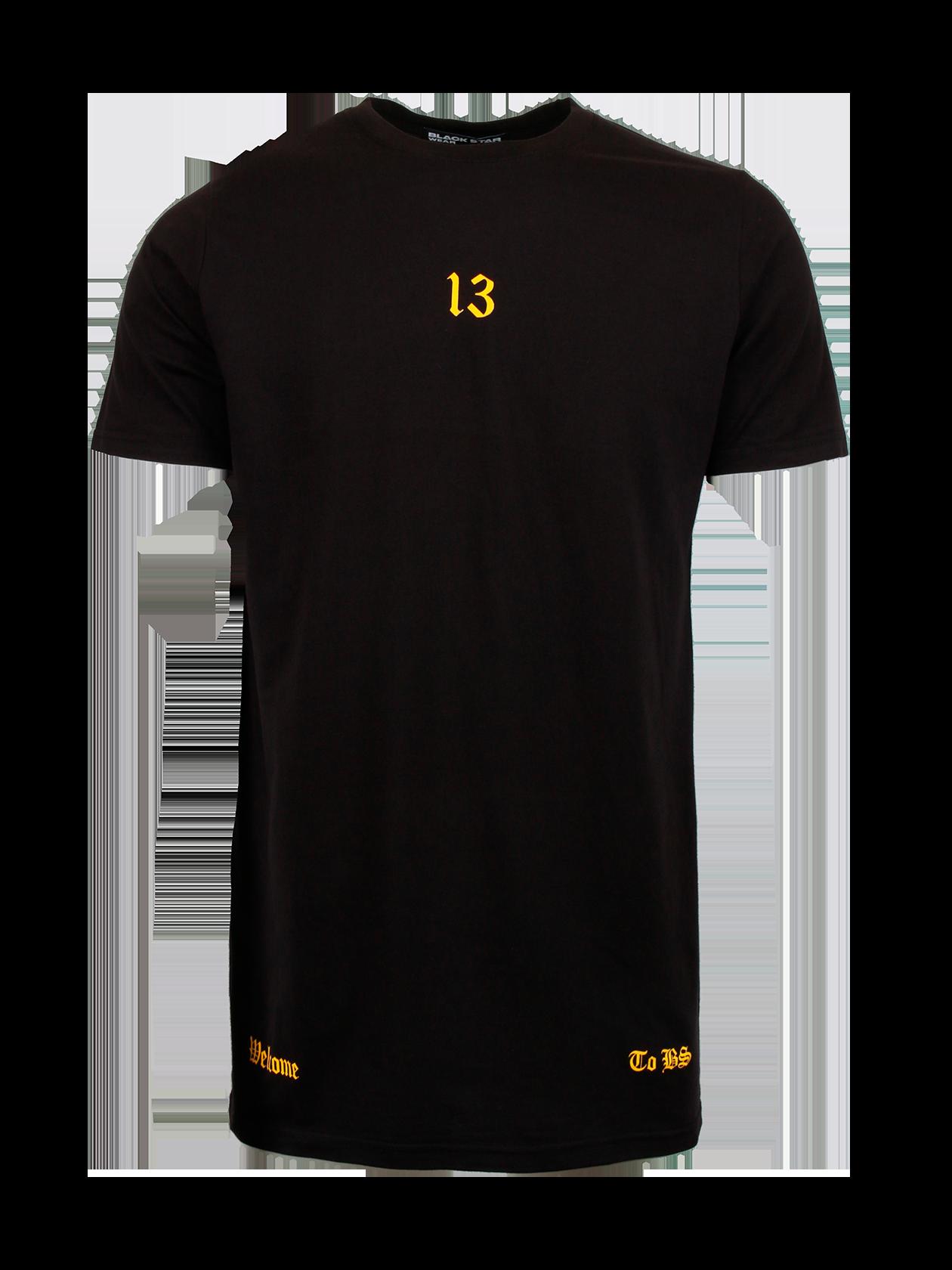 Футболка мужская WELCOME TO BSСтильная футболка мужская Welcome to BS – идеальное решение для создания повседневного и спортивного образа. Белая расцветка актуальная в любом сезоне, ее способность отражать прямые лучи солнца обеспечит дополнительный комфорт в жаркую погоду. Натуральный хлопок премиального качества отвечает за практичность вещи. Модель обладает прямым свободным кроем, коротким рукавом и узкой округлой горловиной с лейблом Black Star Wear внутри. Дизайн футболки дополнен эффектным принтом с крупными черными надписями и символикой бренда BSW на спине, цифрой 13 спереди и надписями золотыми буквами по бокам.<br><br>Размер: XXL<br>Цвет: Черный<br>Пол: Мужской