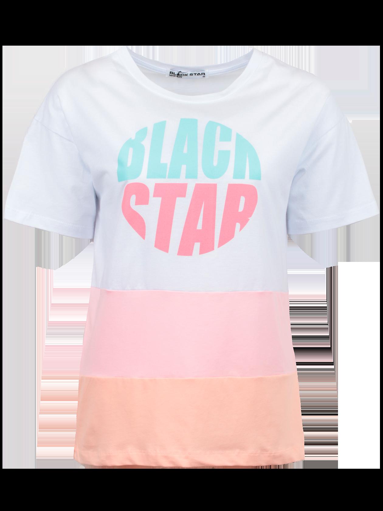 Футболка женская PINK BSФутболка женская Pink BS – стильное и практичное решение для создания образа на каждый день. Модель классического прямого кроя со слегка спущенной линией плеча, переходящей в короткий свободный рукав. Горловина округлой формы с эластичным кантом, внутри содержит жаккардовый лейбл Black Star Wear. Изделие выполнено в универсальной белой расцветке, дополнено разноцветными широкими вставками в нижней части и яркой надписью Black Star на груди. Для изготовления вещи был выбран 100% хлопок премиального качества. Футболка доступна в двух вариантах: белый/розовый/персиковый и белый/розовый/ментоловый.<br><br>Размер: S<br>Цвет: Белый/розовый/персиковый<br>Пол: Женский