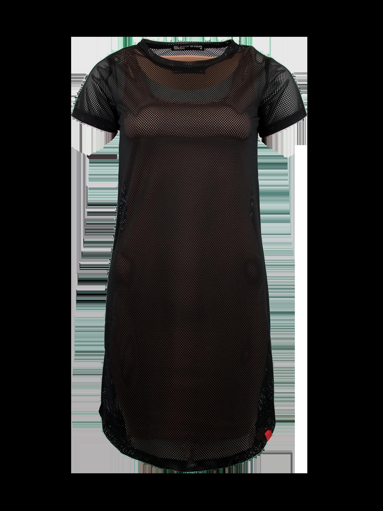 Платье женское MERMAIDПлатье женское Mermaid – оригинальная вещь от популярного бренда Black Star. Модель прямого свободного кроя с округленной формой низа и небольшим рукавом. Неглубокая горловина содержит эмблему с логотипом BSW на внутренней стороне. Изделие выполнено полностью из перфорированного материала высокого качества, представлено в черной расцветке. Внутри имеется подкладка, открывающая рукава и нижнюю часть платья. Идеально подходит для создания стиля на каждый день, комбинируется с любой обувью.<br><br>Размер: XS<br>Цвет: Черный/бежевый<br>Пол: Женский