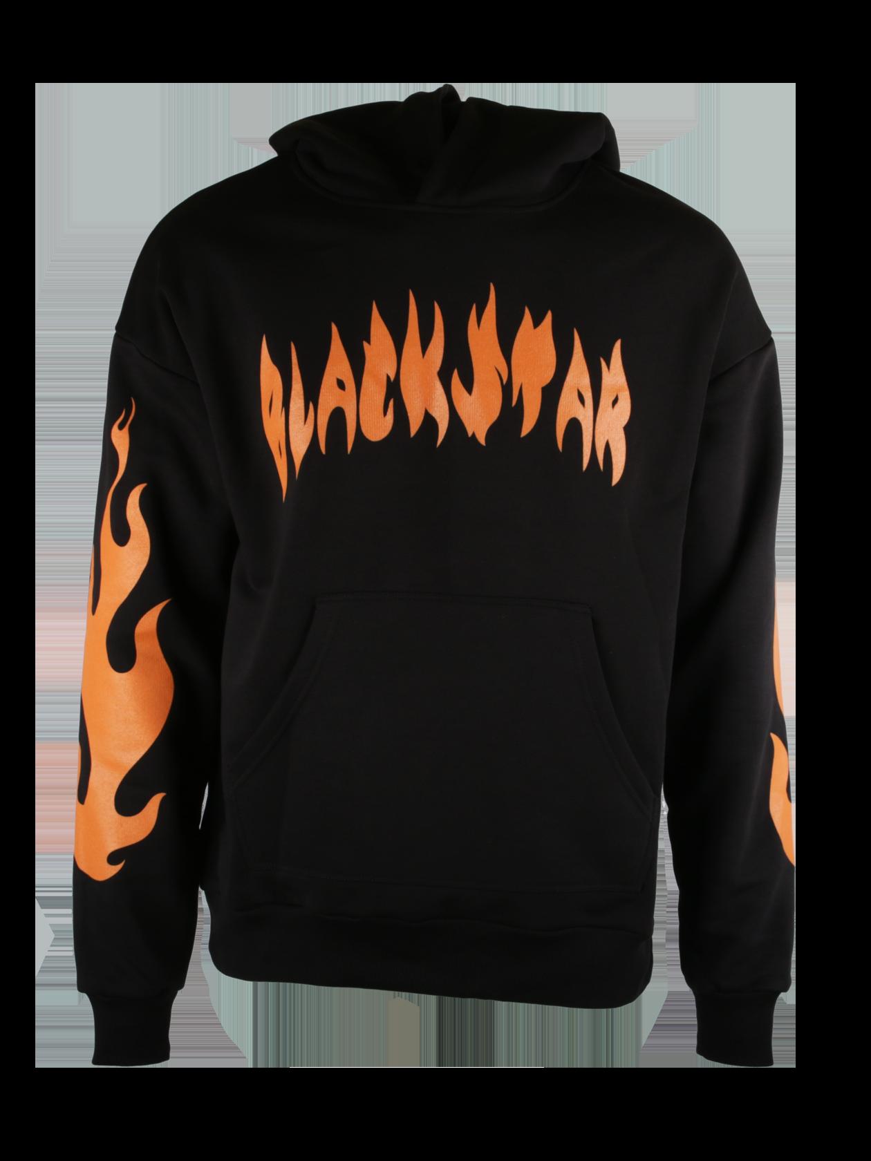 Худи  FIRE FLAMEХуди Fire Flame из уникальной коллекции Orange Flame – идеальное решение для энергичных молодых людей. Сочная апельсиновая расцветка вдохновила дизайнеров на создание этой модели. Изделие прямого свободного силуэта с объемным капюшоном и вместительным передним карманом отлично подходит для спорта и отдыха. Дизайн дополнен смелым принтом в виде черной надписи Black Star на груди и языков пламени на рукавах. Эластичные вставки на манжетах и по низу худи служат для лучшей посадки вещи. Для пошива был выбран премиальный натуральный хлопок.<br><br>Размер: XL<br>Цвет: Черный<br>Пол: Мужской