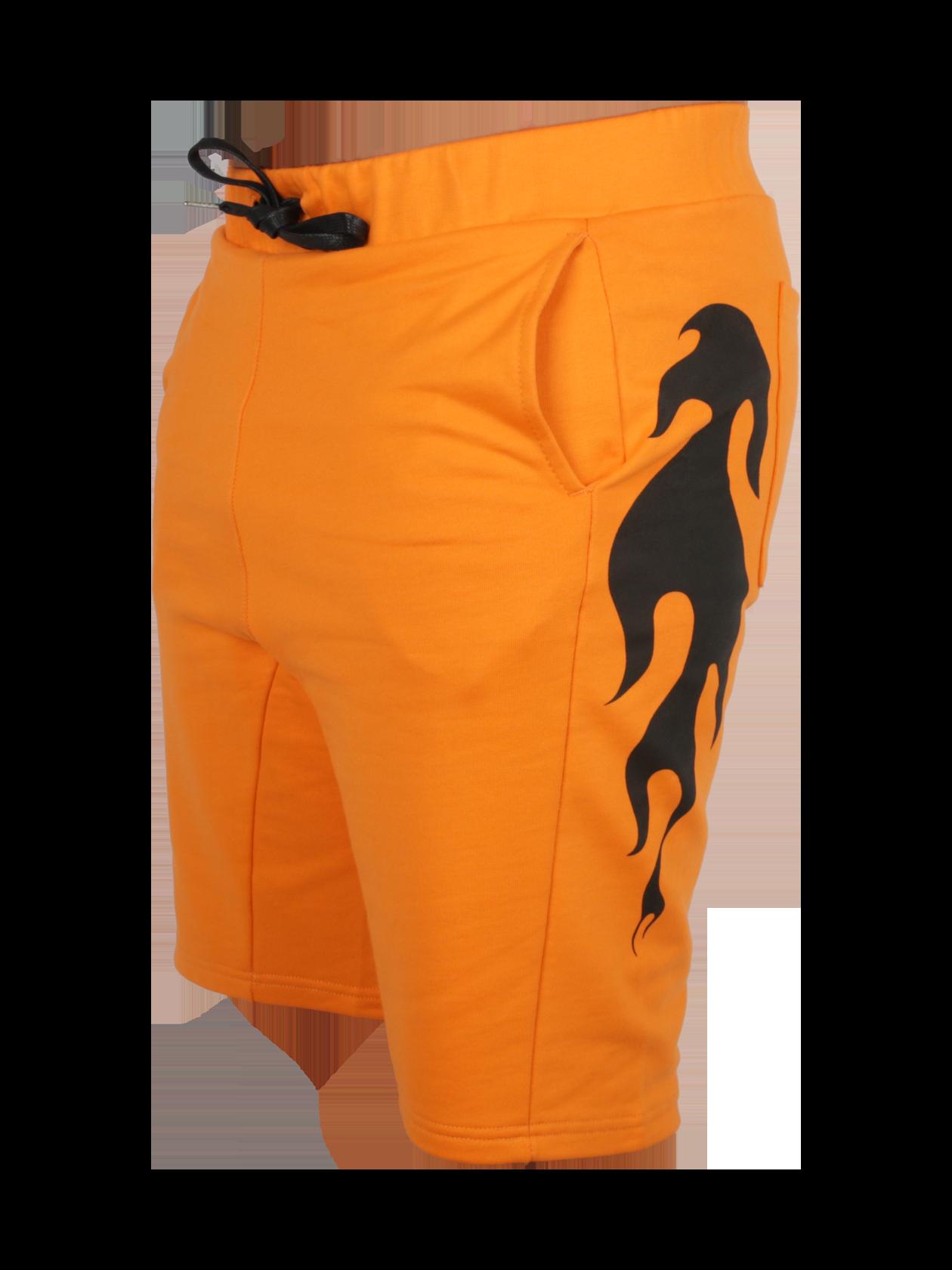 Шорты  FIRE FLAMEШорты Fire Flame из новой коллекции Orange Flame для энергичных и ярких молодых людей. Сочный оранжевый цвет, в котором представлена модель, зарядит позитивом и заметно выделит из толпы. Изделие прямого кроя с длиной чуть выше колен идеально подходит для спорта и отдыха. Дизайн дополнен накладными задними и внутренними боковыми карманами, широким поясом на резинке и завязках. Эффектные принты в виде языков пламени по бокам придают шортам особого стиля. Одно из преимуществ вещи – 100% хлопок премиального качества, обеспечивающий долговечность и практичность.<br><br>Размер: M<br>Цвет: Оранжевый<br>Пол: Мужской