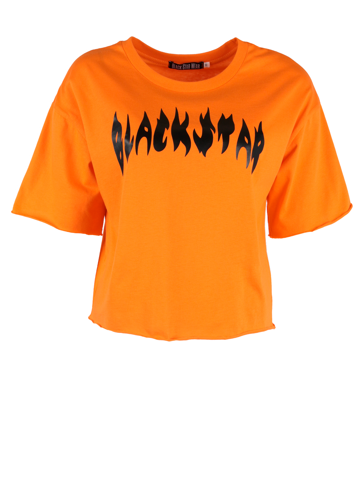 Женская футболка FIRE FLAMEЖенская футболка Fire Flame из уникальной коллекции Orange Flame вдохновит на создание яркого лука. Модель свободного кроя с укороченным силуэтом и небольшим широким рукавом. Линия плеча слегка опущена, горловина с неглубоким вырезом оформлена эластичным кантом, внутри содержится лейбл Black Star Wear. Интересным дизайнерским решением является необработанный край низа и рукавов. «Огненная» надпись Black Star на груди добавит образу смелости и энергичности. Изделие представлено в двух расцветках – традиционной черной и сочной оранжевой. Для пошива футболки был выбран премиальный 100% хлопок, приятный к телу.<br><br>Размер: M<br>Цвет: Оранжевый<br>Пол: Женский