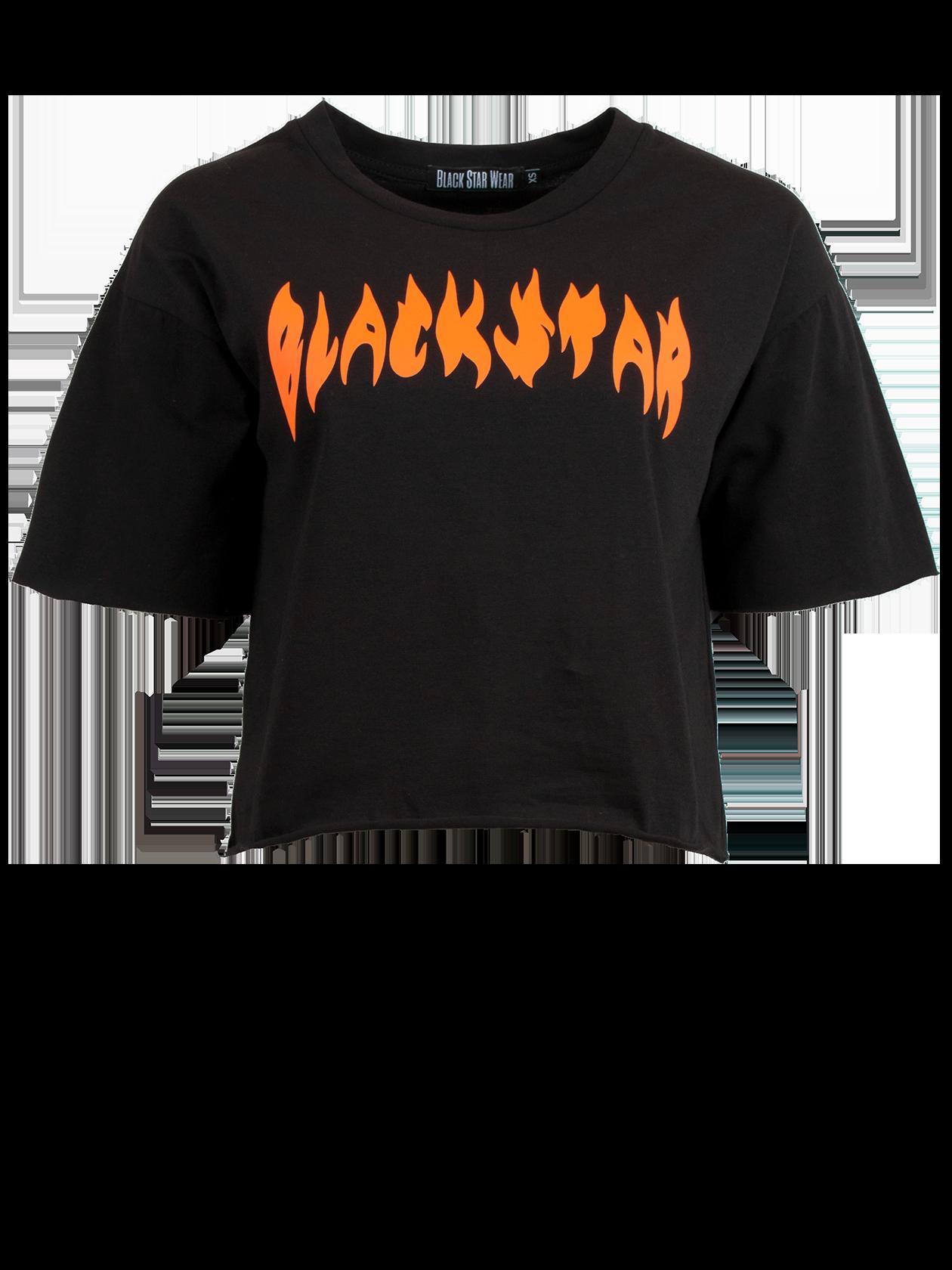 Женская футболка FIRE FLAMEЖенская футболка Fire Flame из уникальной коллекции Orange Flame вдохновит на создание яркого лука. Модель свободного кроя с укороченным силуэтом и небольшим широким рукавом. Линия плеча слегка опущена, горловина с неглубоким вырезом оформлена эластичным кантом, внутри содержится лейбл Black Star Wear. Интересным дизайнерским решением является необработанный край низа и рукавов. «Огненная» надпись Black Star на груди добавит образу смелости и энергичности. Изделие представлено в двух расцветках – традиционной черной и сочной оранжевой. Для пошива футболки был выбран премиальный 100% хлопок, приятный к телу.<br><br>Размер: L<br>Цвет: Черный<br>Пол: Женский