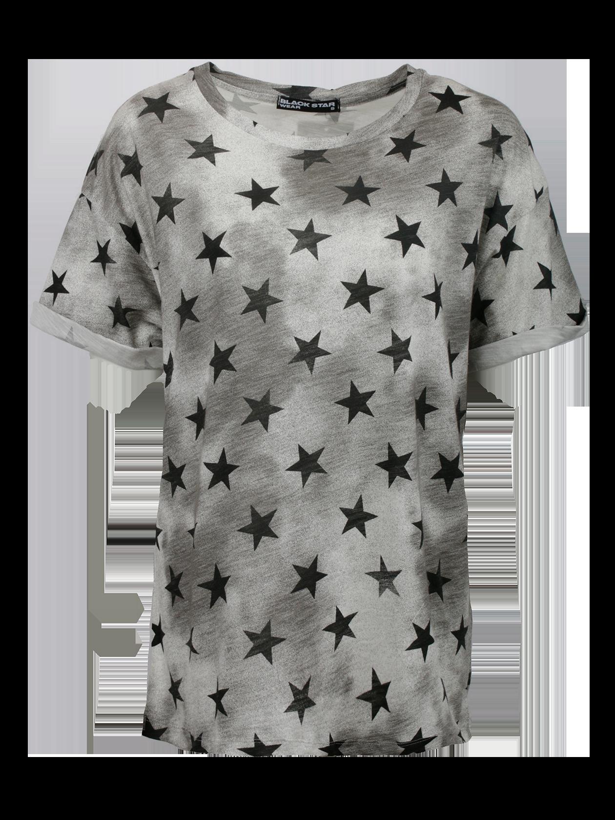 Футболка женская SUPER STARФутболка женская Super Star – яркое дополнение спортивного и повседневного стиля. Модель привлекает внимание оригинальной расцветкой серой расцветкой с темными пятнами и рисунком в виде многочисленных черных звезд. Крой прямой, свободный, линия плеча опущена и переходит в короткий широкий рукав. Горловина средней глубины дополнена жаккардовой нашивкой с логотипом Black Star внутри. Благодаря натуральному высококачественному хлопку футболка отличается высокой практичностью и износостойкостью.<br><br>Размер: M<br>Цвет: Серый<br>Пол: Женский