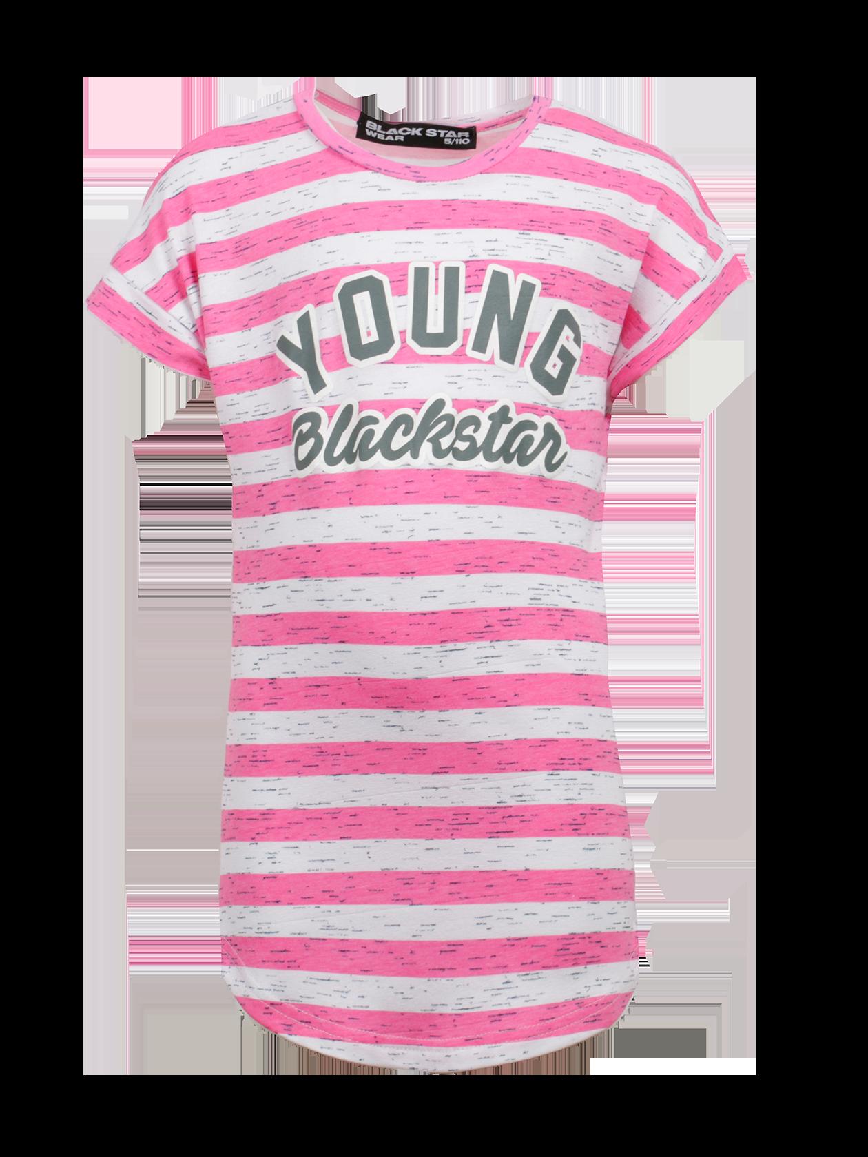 Туника детская PINK BEACH STARТуника детская Pink Beach Star – яркий тренд летнего сезона. Модель свободного кроя с коротким цельнокроеным рукавом и длиной до середины бедра. Модная расцветка в серо-розовую полоску выделит ребенка среди сверстников. Круглая горловина с обтачкой из основного материала и жаккардовым лейблом Black Star Wear внутри. Край низа слегка закруглен. На груди крупная надпись Young Black Star. Туника изготовлена из высококачественного натурального хлопка, обеспечивающего комфорт во время движения. Может использоваться в качестве самостоятельной вещи или в комплекте с леггинсами.<br><br>Размер: 9-10 years<br>Цвет: Розовый/Белый<br>Пол: Унисекс