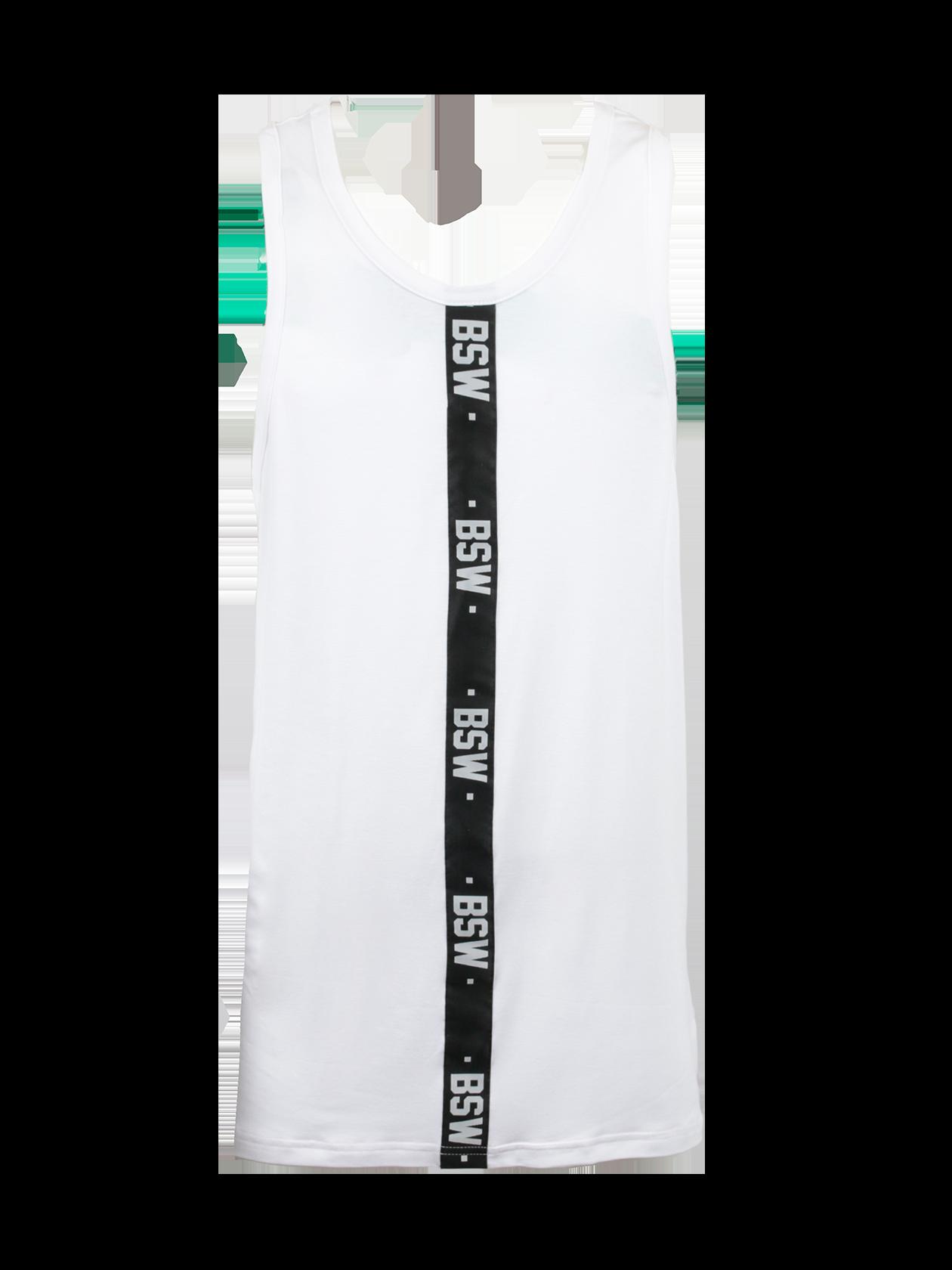 Майка мужская HARAJUKU 2.0Стильная мужская майка Harajuku 2.0 поможет разнообразить повседневный лук. Модель спортивного типа обладает прямым свободным кроем, удлиненным силуэтом. Изделие представлено в базовых белой и черной расцветках, отлично сочетающихся с всевозможной одеждой и обувью. Дизайн дополнен черными вертикальными вставками с надписями BSW, оформленными по центру фронтальной и тыльной стороны. Майка сшита из натурального хлопка премиального качества, идеально подходит для спорта и отдыха.<br><br>Размер: S<br>Цвет: Белый<br>Пол: Мужской