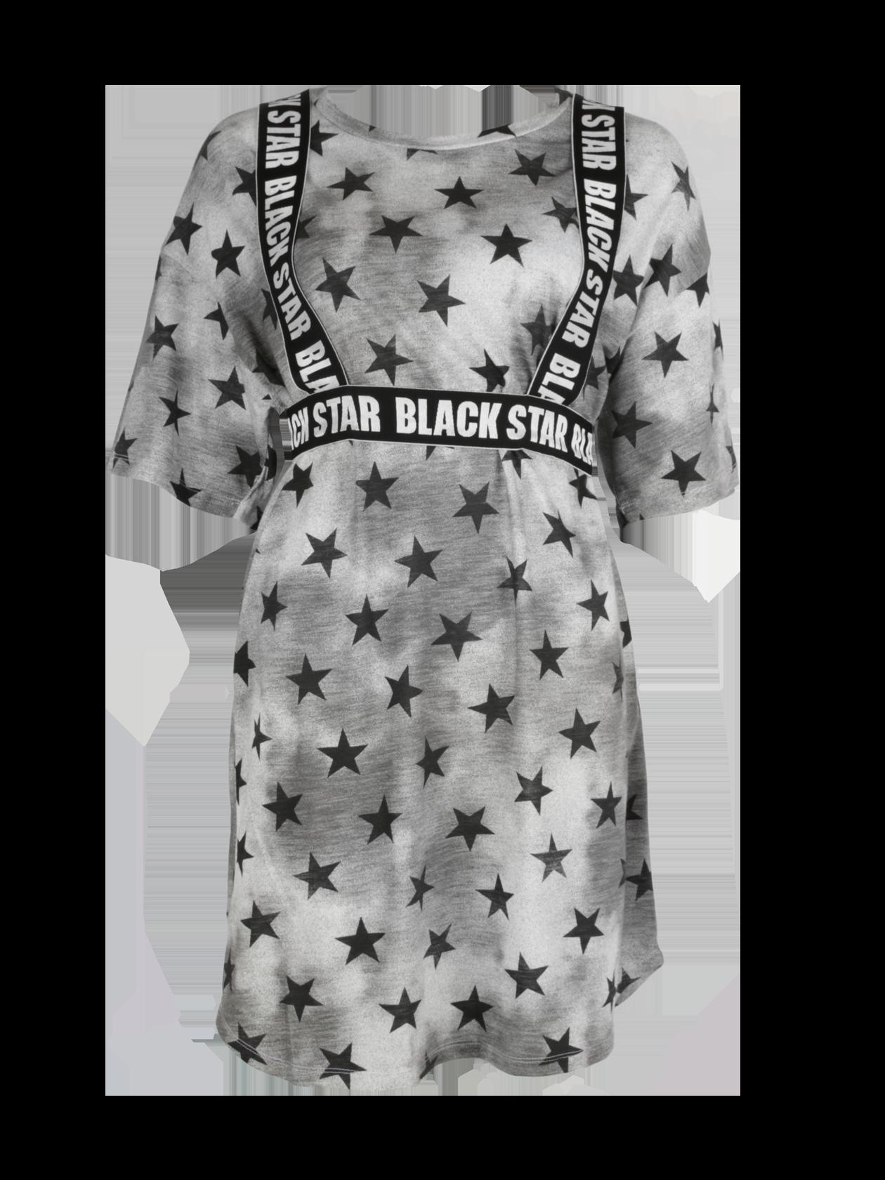 Туника женская SUPER STARТуника женская Super Star – эффектная вещь в гардеробе современной девушки. Модель свободного удлиненного кроя с опущенной линией плеча, переходящей в широкий рукав. Горловина выполнена в форме неглубокой лодочки, содержит лейбл Black Star Wear с изнаночной стороны. Изделие серого цвета с затемнениями и крупными черными звездами по всему периметру дополнено стильным ремнем с надписями Black Star, имитирующим подтяжки. Туника может использоваться в качестве самостоятельной вещи или в тандеме с леггинсами. Материал изготовления – 100% хлопок премиального качества.<br><br>Размер: XS<br>Цвет: Серый<br>Пол: Женский